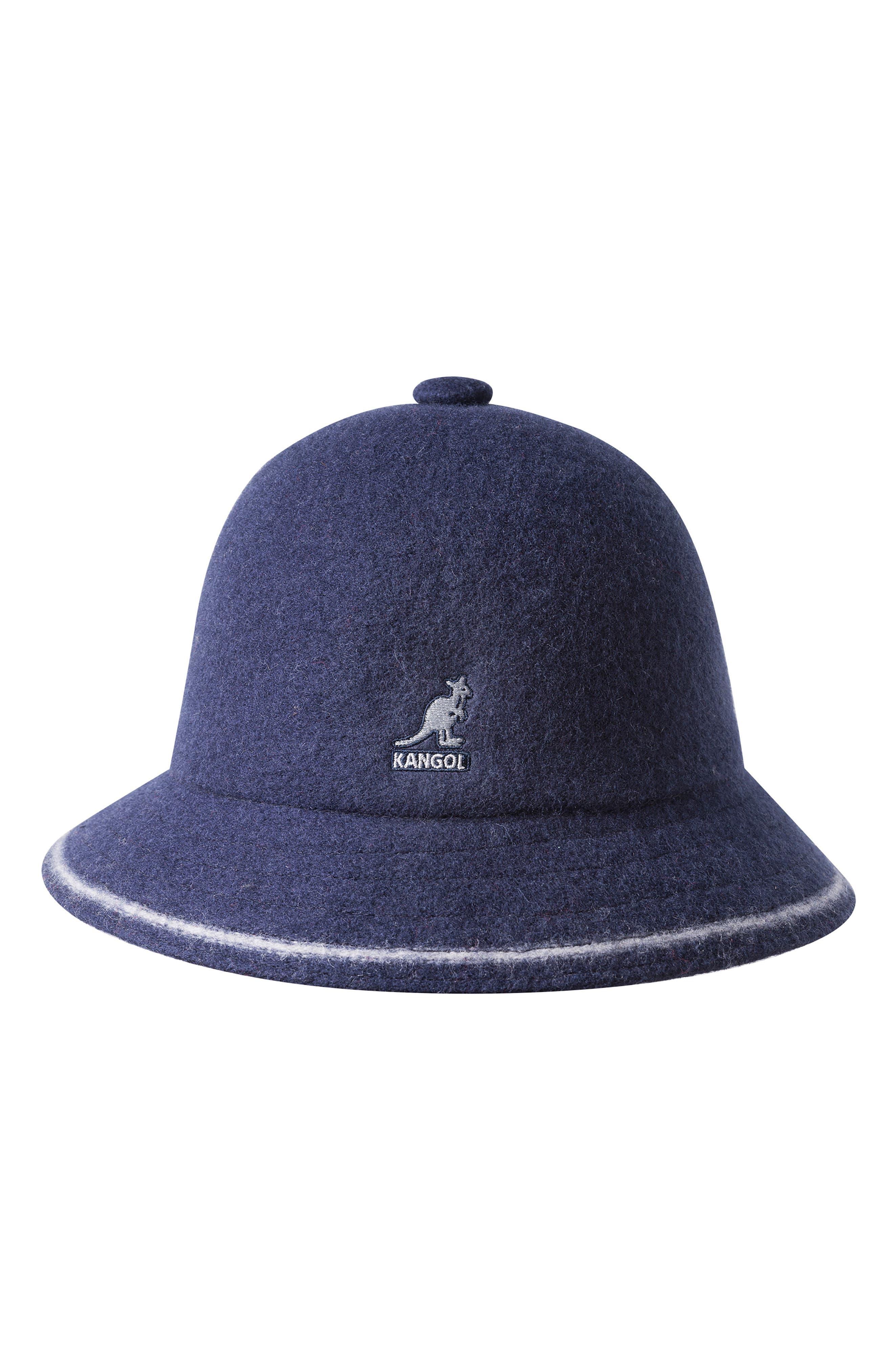 KANGOL Cloche Hat - Blue in Navy/ Off Wht
