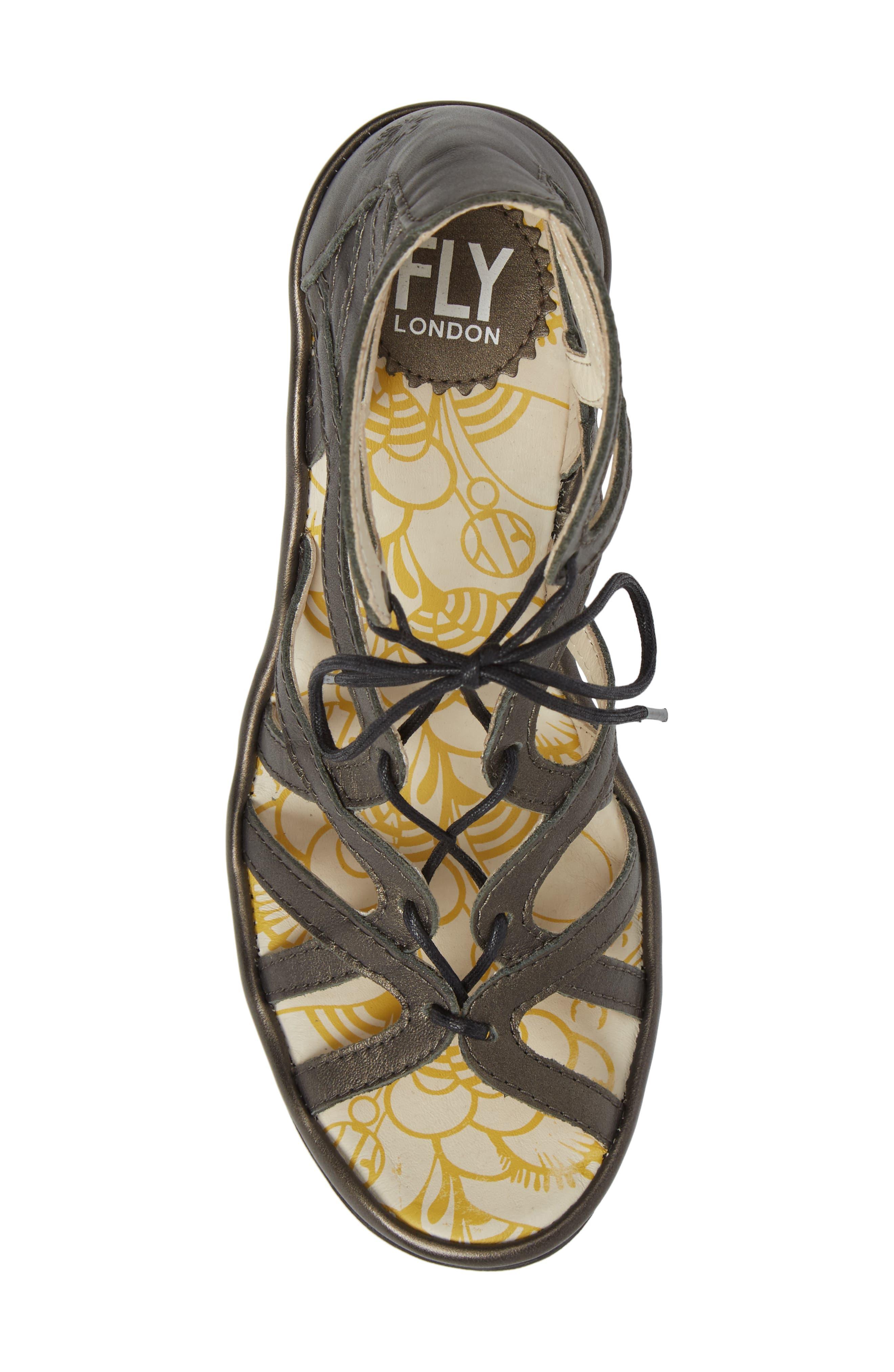 'Yuke' Platform Wedge Sandal,                             Alternate thumbnail 5, color,                             ANTHRACITE LEATHER