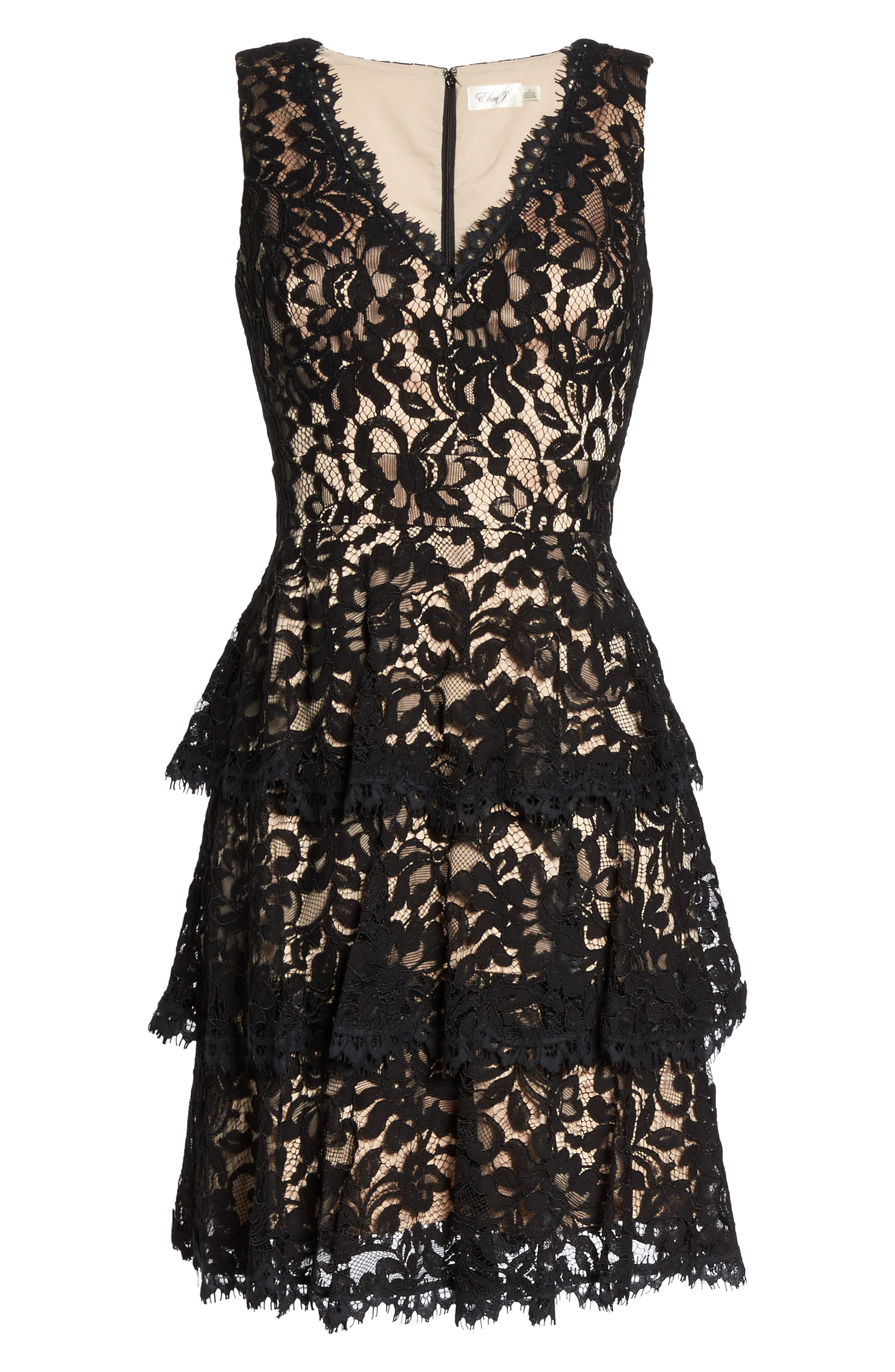 Lace Fit & Flare Dress,                             Alternate thumbnail 6, color,                             001