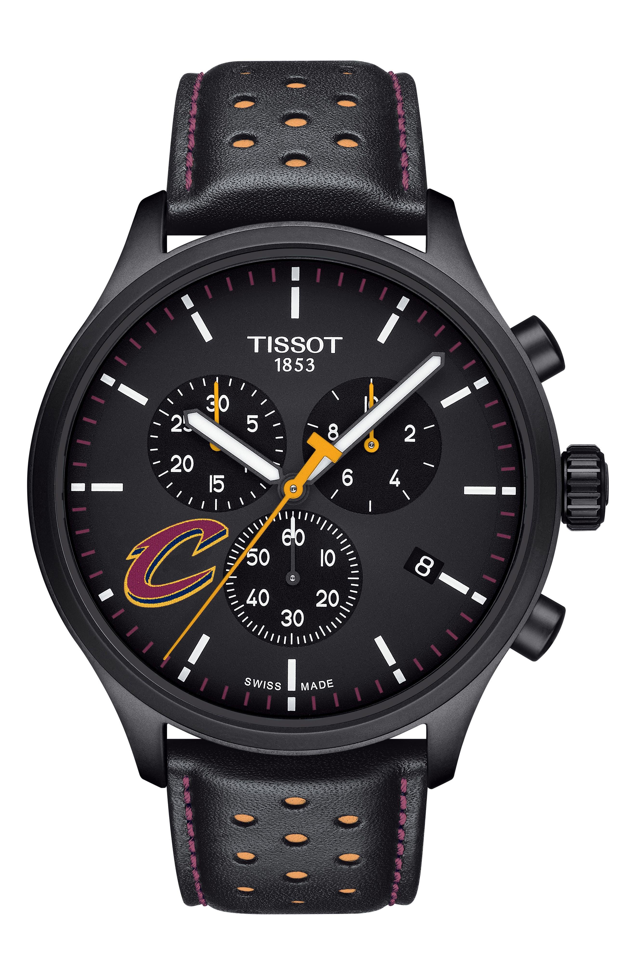 Chrono XL NBA Leather Strap Watch, 45mm,                         Main,                         color, BLACK/ BURGUNDY