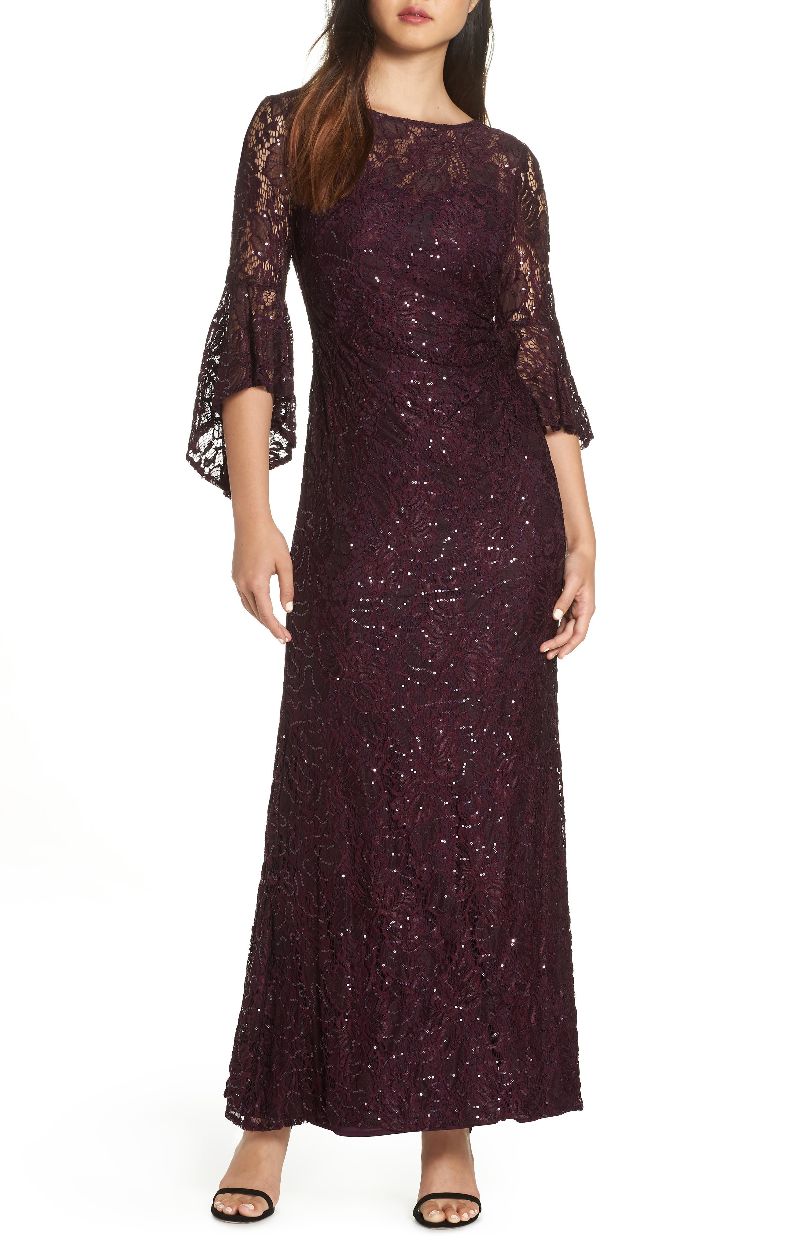 Sequin Embellished Gown,                         Main,                         color, MULBERRY