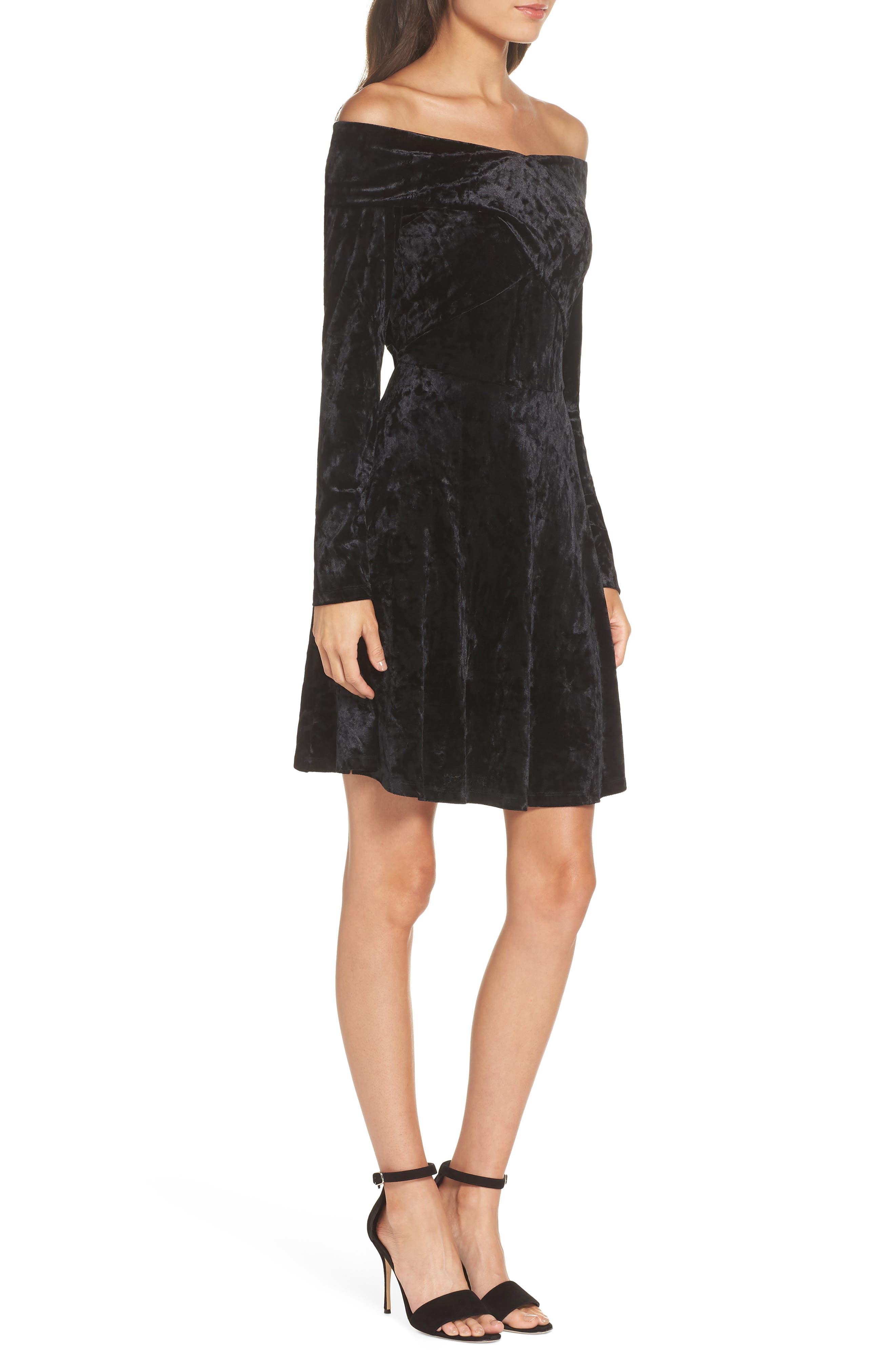 Off the Shoulder Velvet A-Line Dress,                             Alternate thumbnail 3, color,                             BLACK