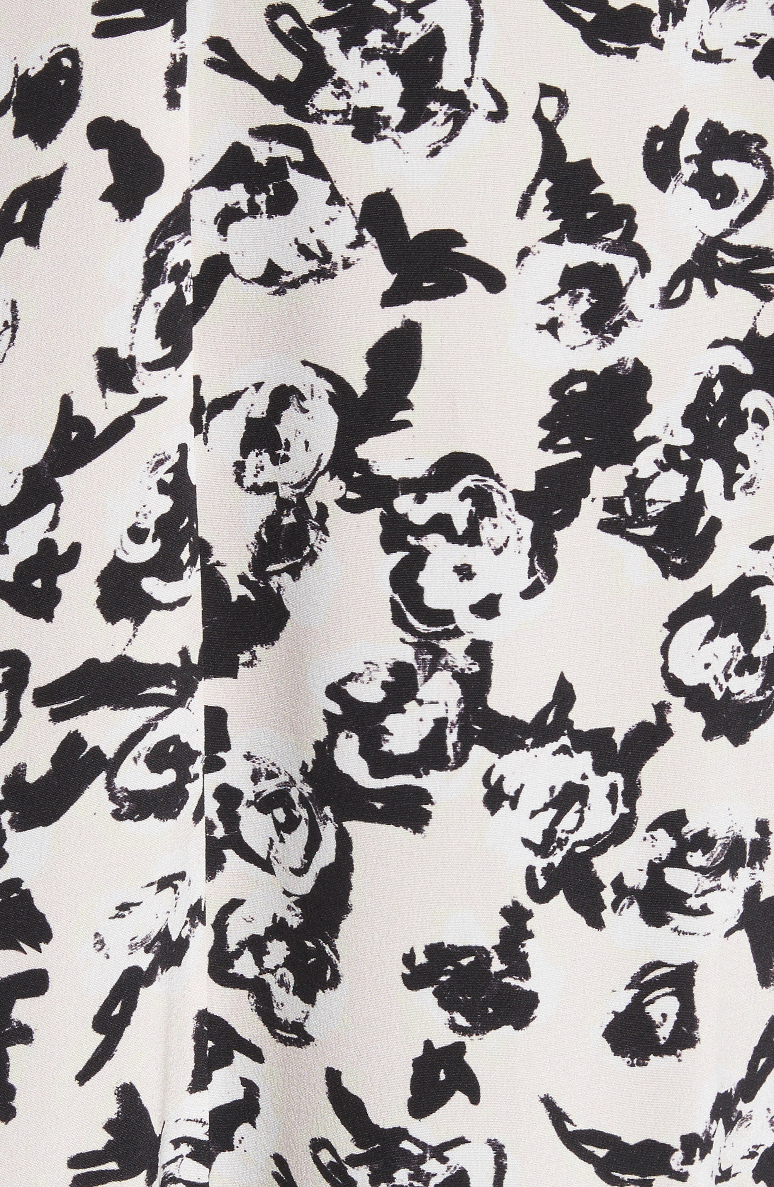 Ruffle Print Silk Midi Dress,                             Alternate thumbnail 5, color,                             001
