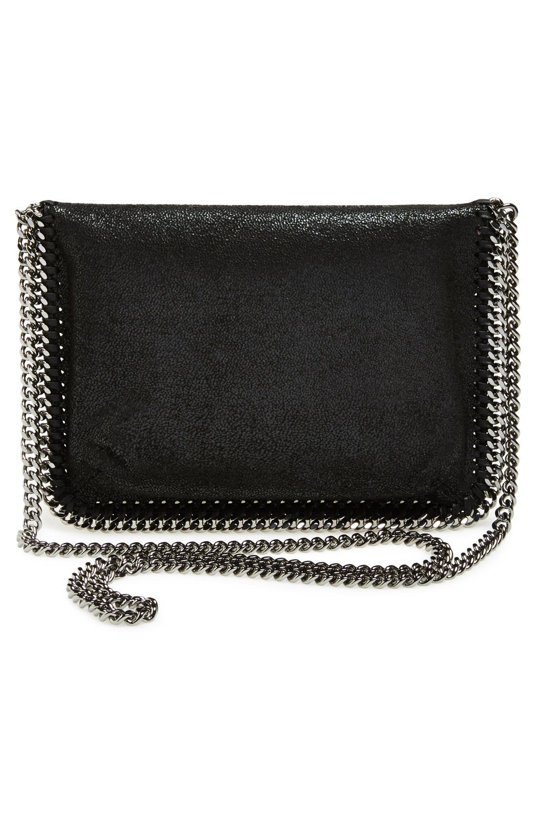 'Mini Falabella - Shaggy Deer' Faux Leather Crossbody Bag,                             Alternate thumbnail 4, color,                             001