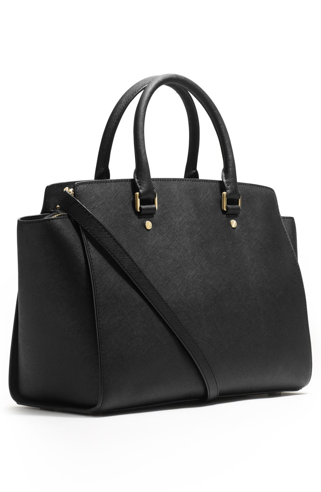 'Large Selma' Zip-Top Satchel,                             Alternate thumbnail 3, color,                             001