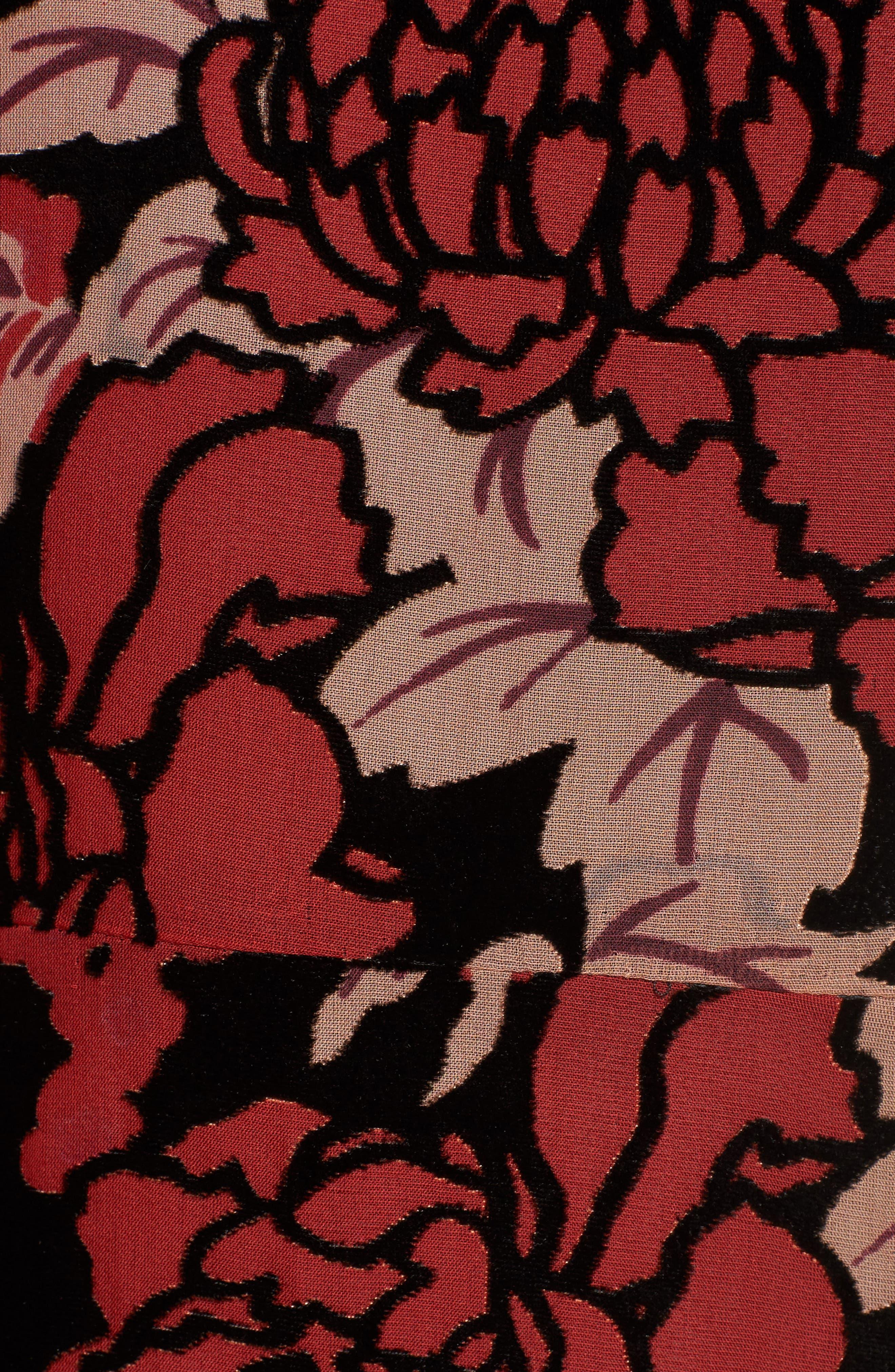 Wilma Devore Burnout Velvet A-Line Dress,                             Alternate thumbnail 5, color,                             017