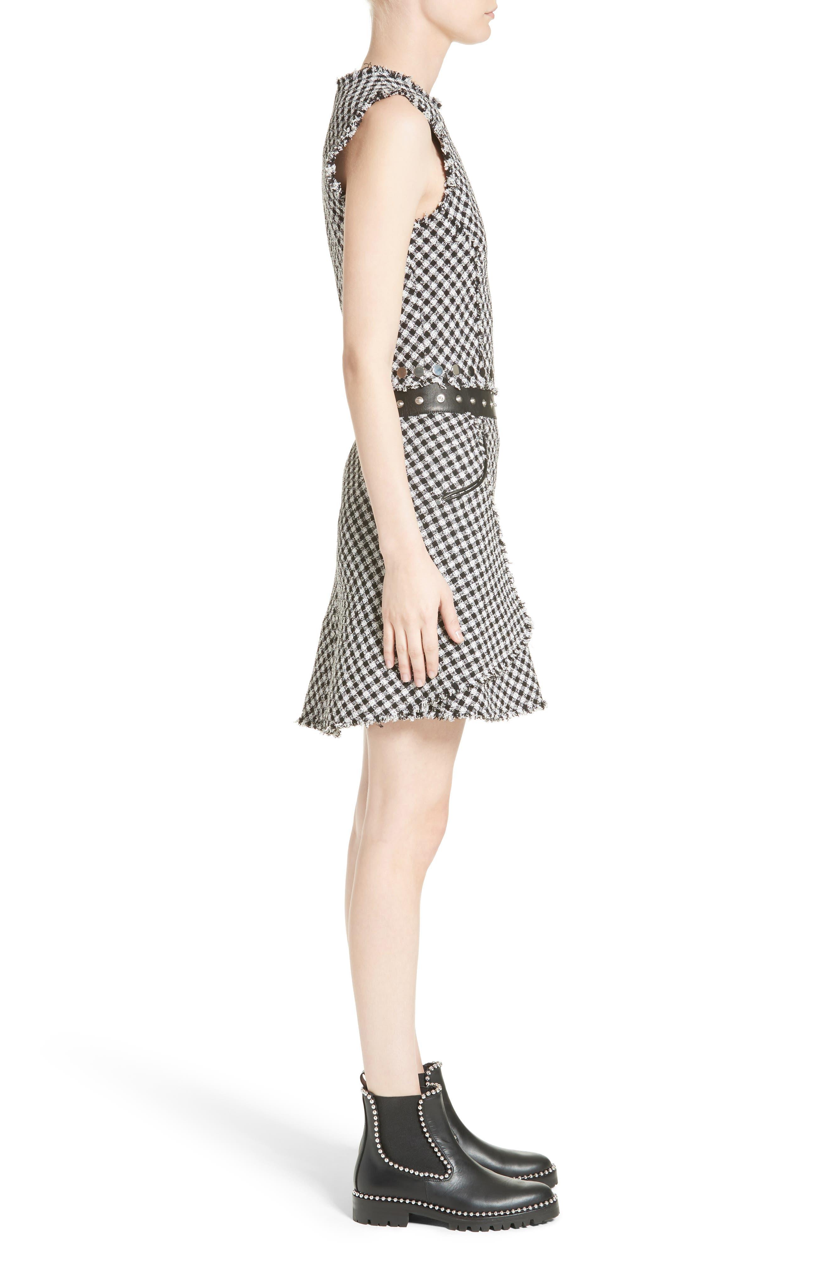 Check Tweed Dress,                             Alternate thumbnail 3, color,                             001