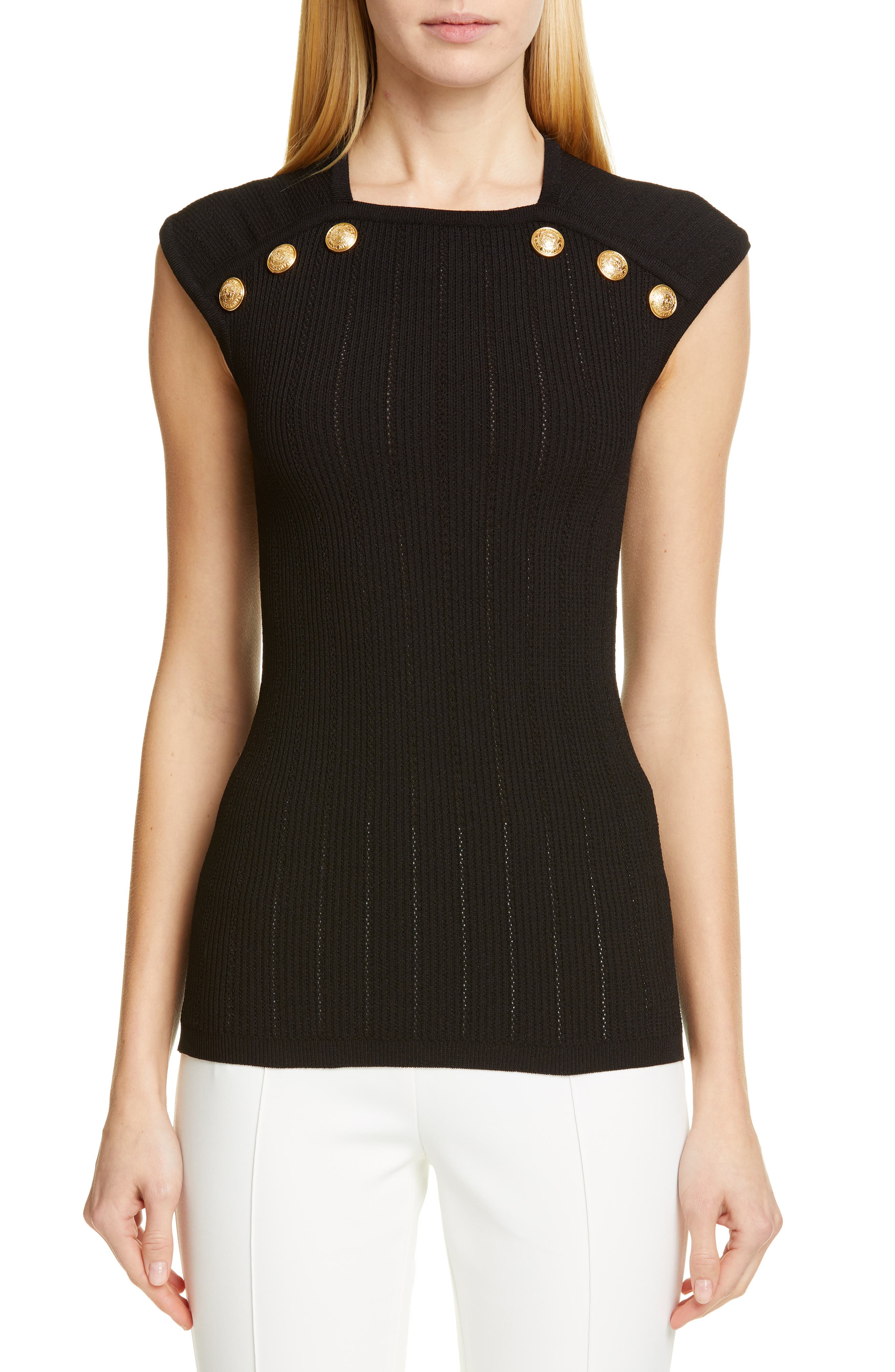 BALMAIN Shoulder Button Rib Knit Top, Main, color, 0PA NOIR