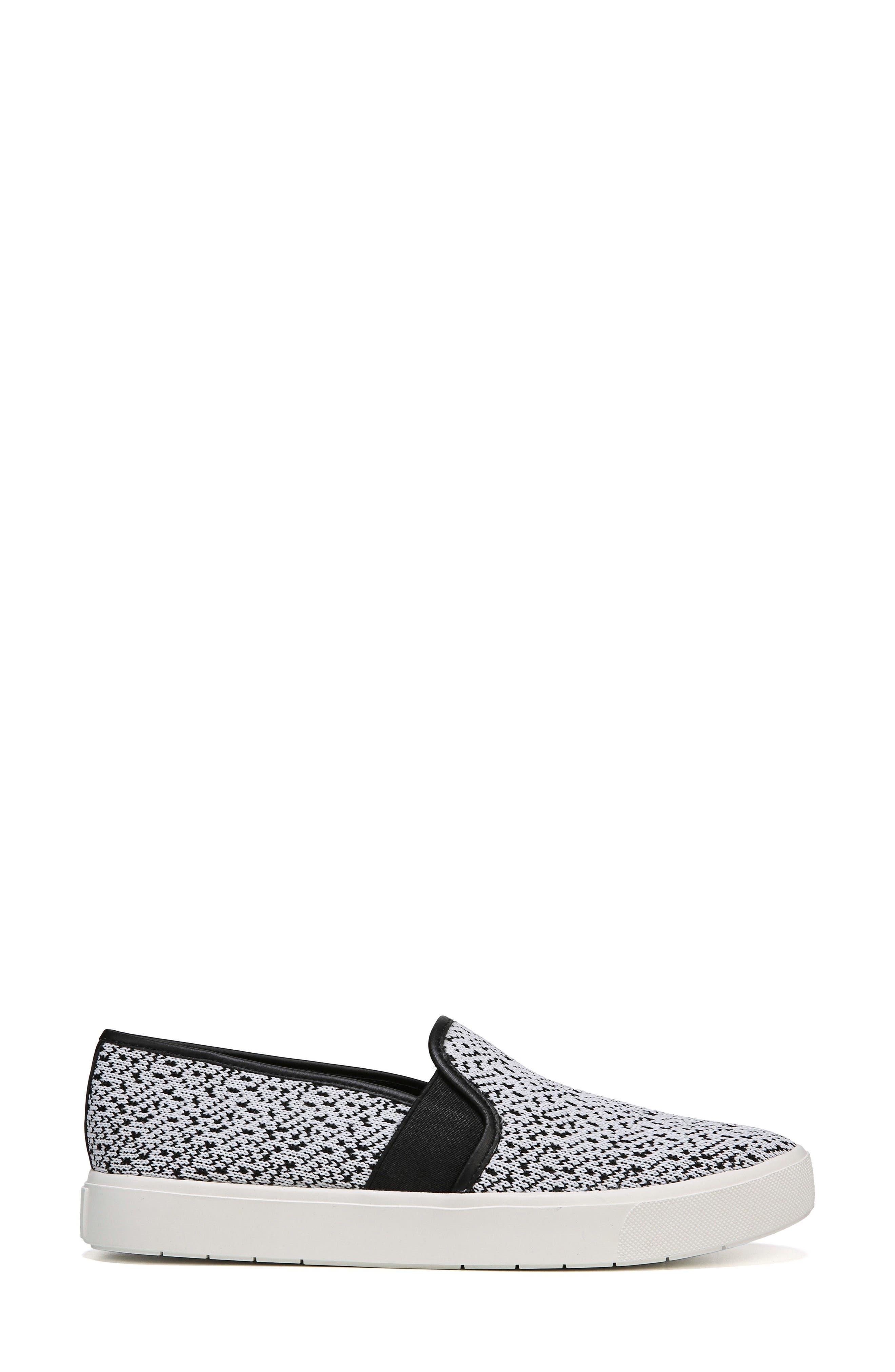 'Blair 12' Leather Slip-On Sneaker,                             Alternate thumbnail 3, color,                             WHITE/ BLACK YETI KNIT