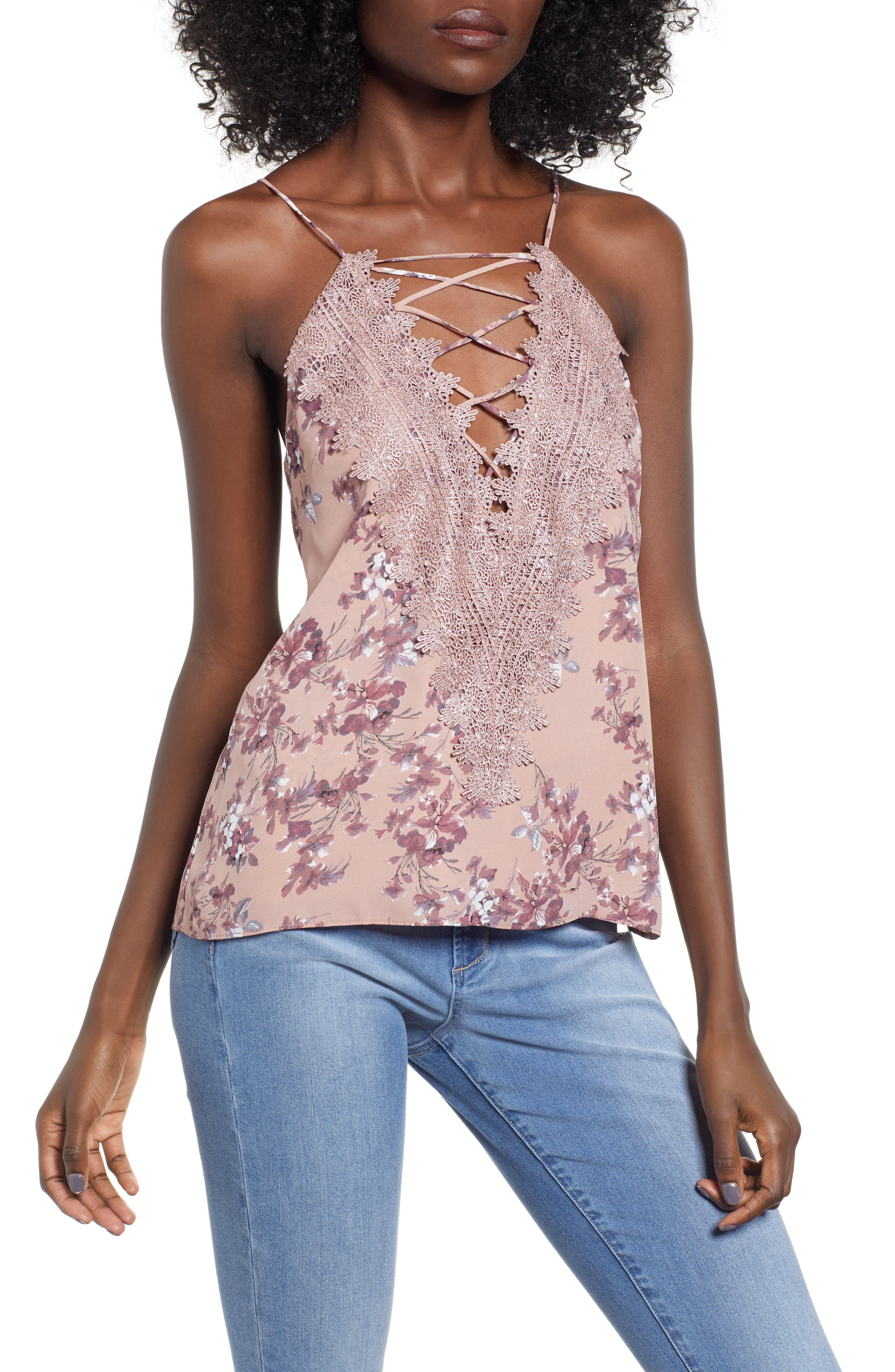Posie Strappy Camisole,                             Main thumbnail 1, color,                             DUSTY MAUVE FLORAL