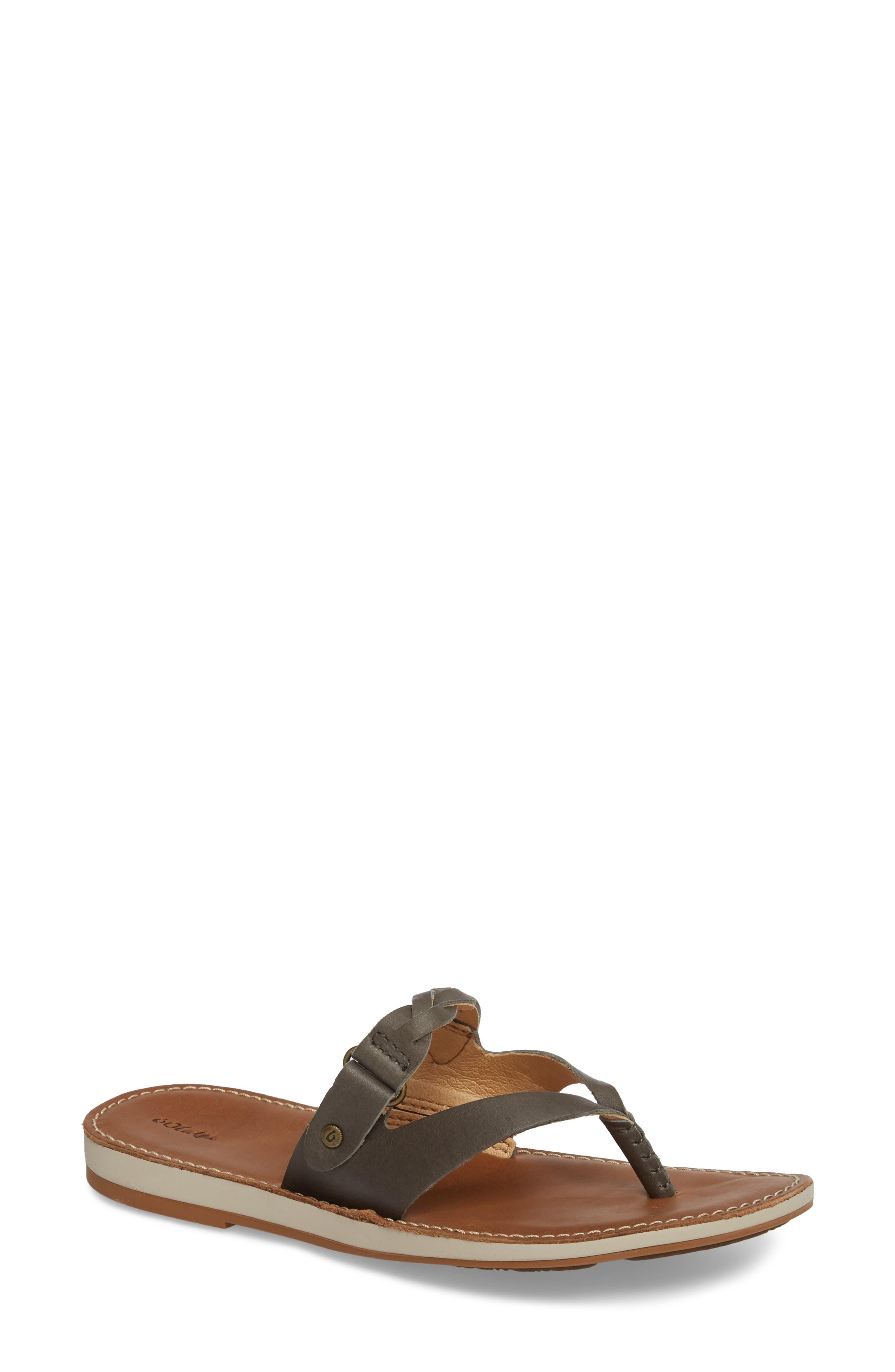 Kahikolu Flip Flop,                         Main,                         color, SLATE/ TAN LEATHER