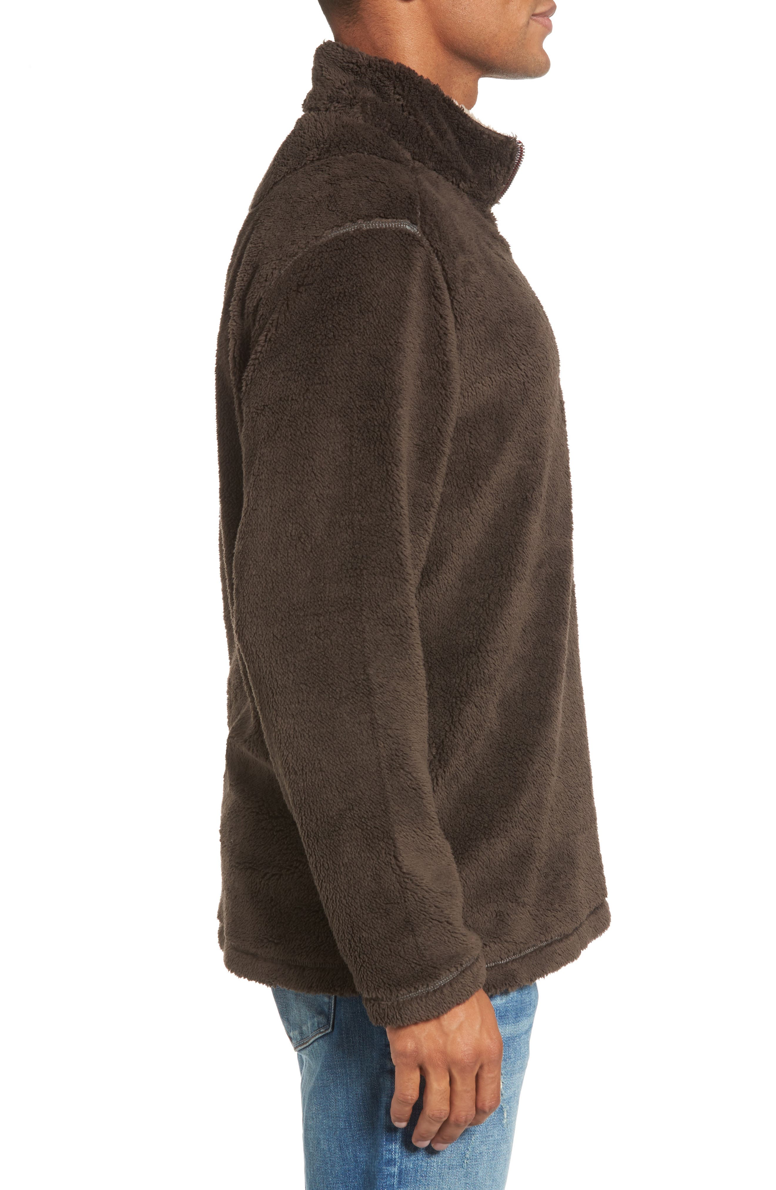 Pebble Pile Quarter Zip Pullover,                             Alternate thumbnail 3, color,                             VINTAGE BR