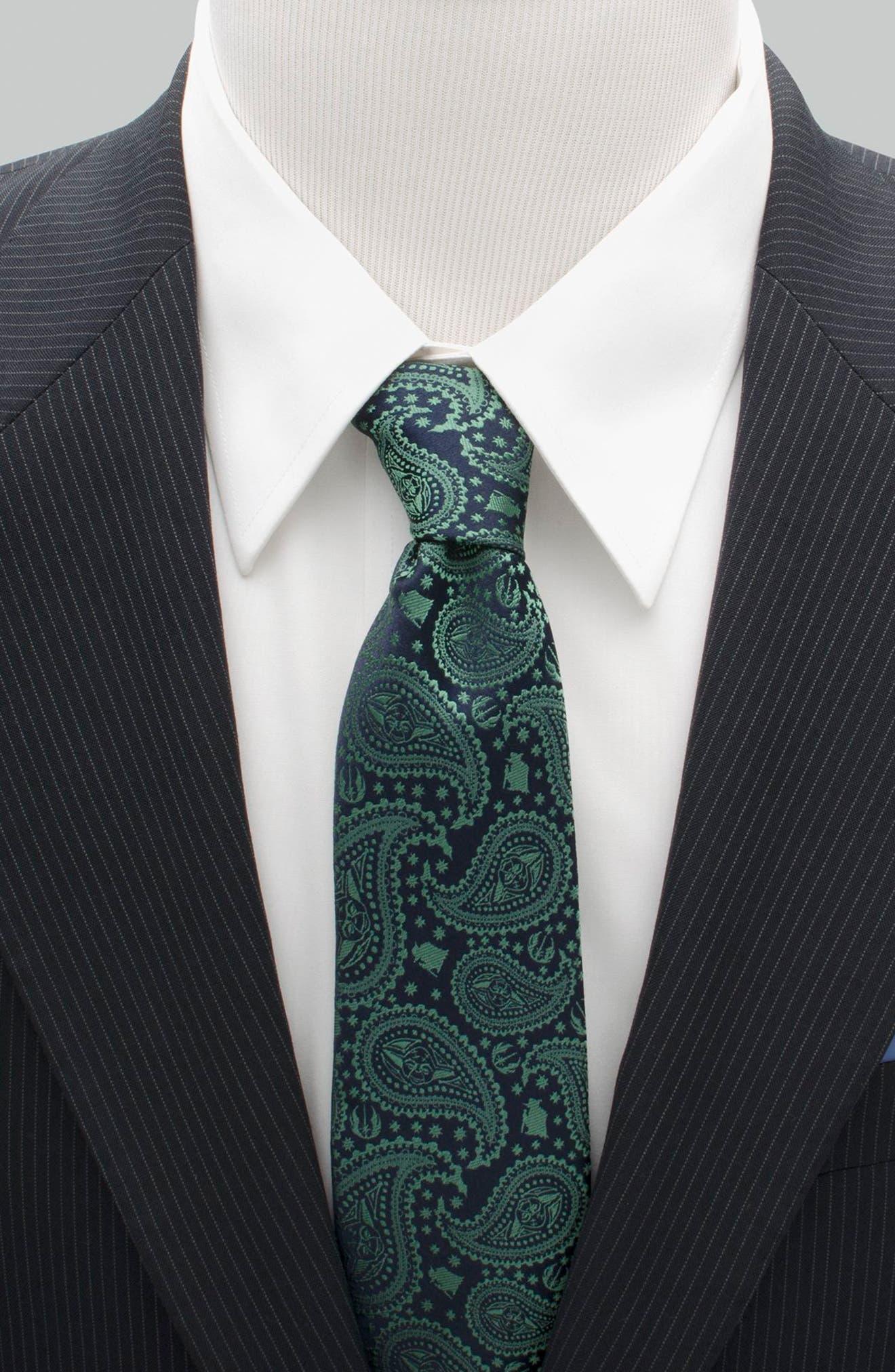 Yoda Paisley Silk Tie,                             Alternate thumbnail 2, color,                             GREEN