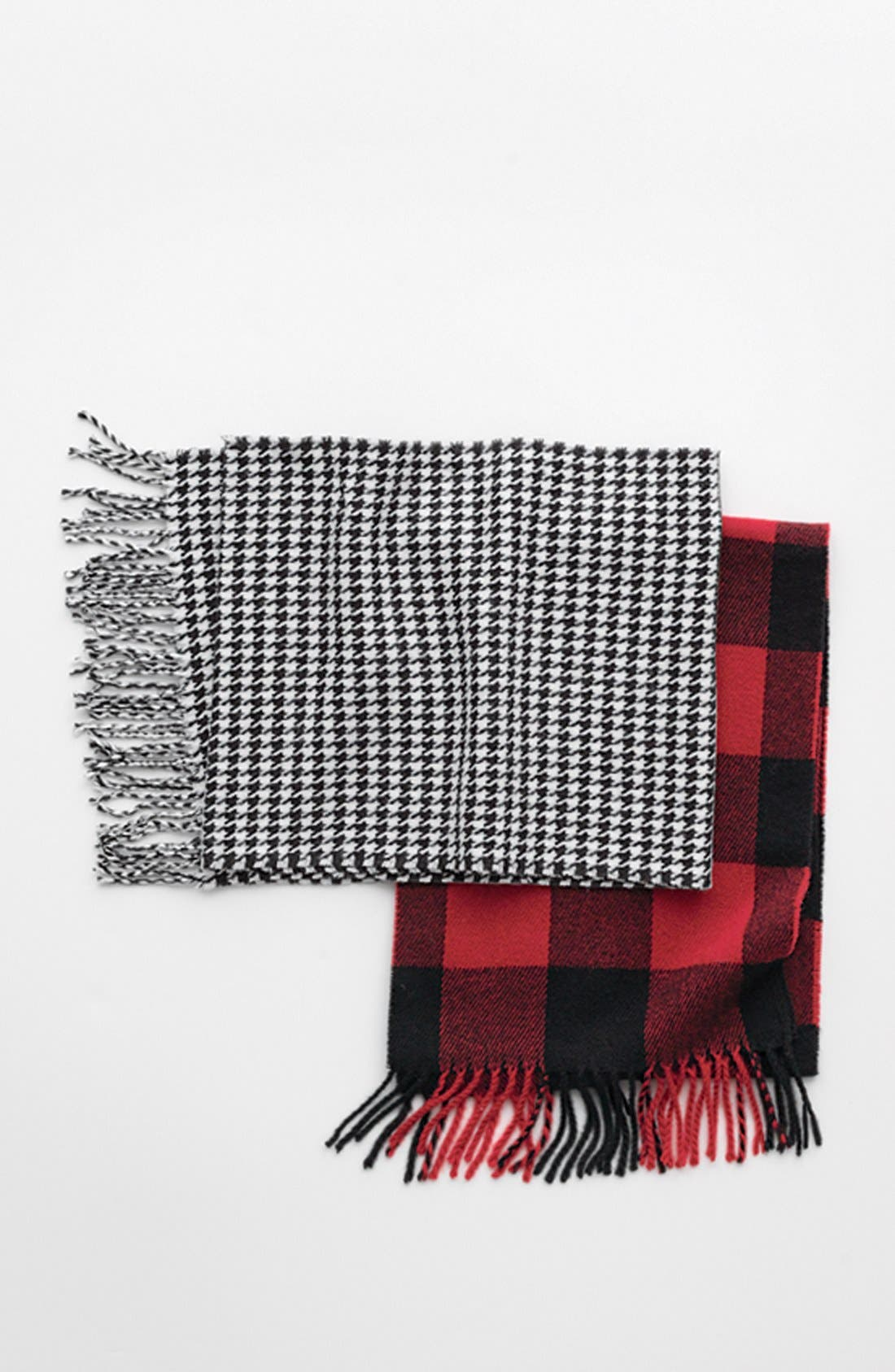 THE RAIL,                             Red Check Knit Scarf,                             Alternate thumbnail 4, color,                             600