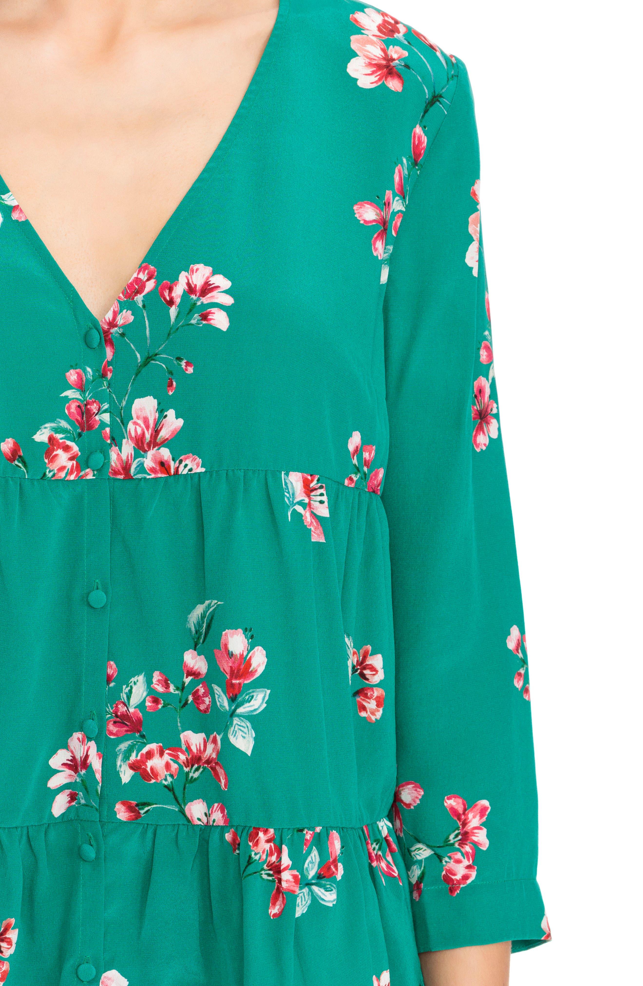 Anna Floral Silk Blouse,                             Alternate thumbnail 4, color,                             440