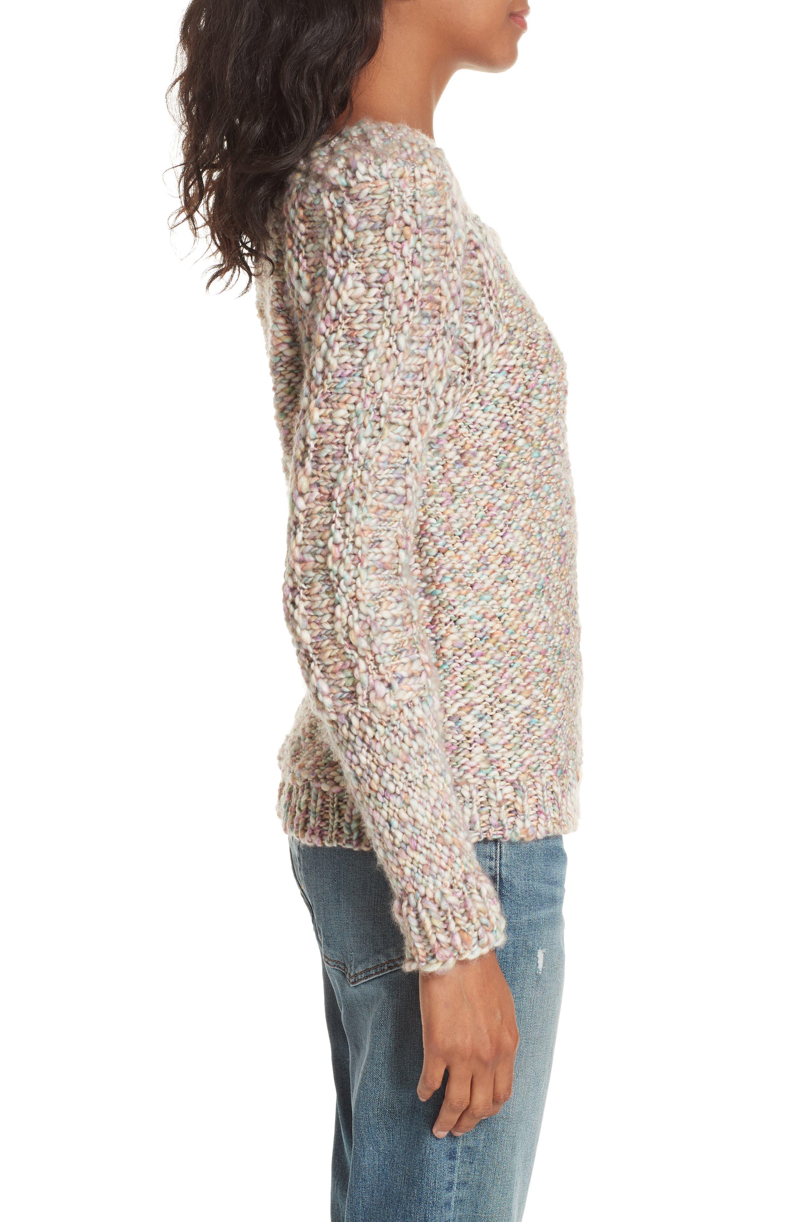 Joplin Wool Sweater,                             Alternate thumbnail 3, color,                             PASTEL MULTI
