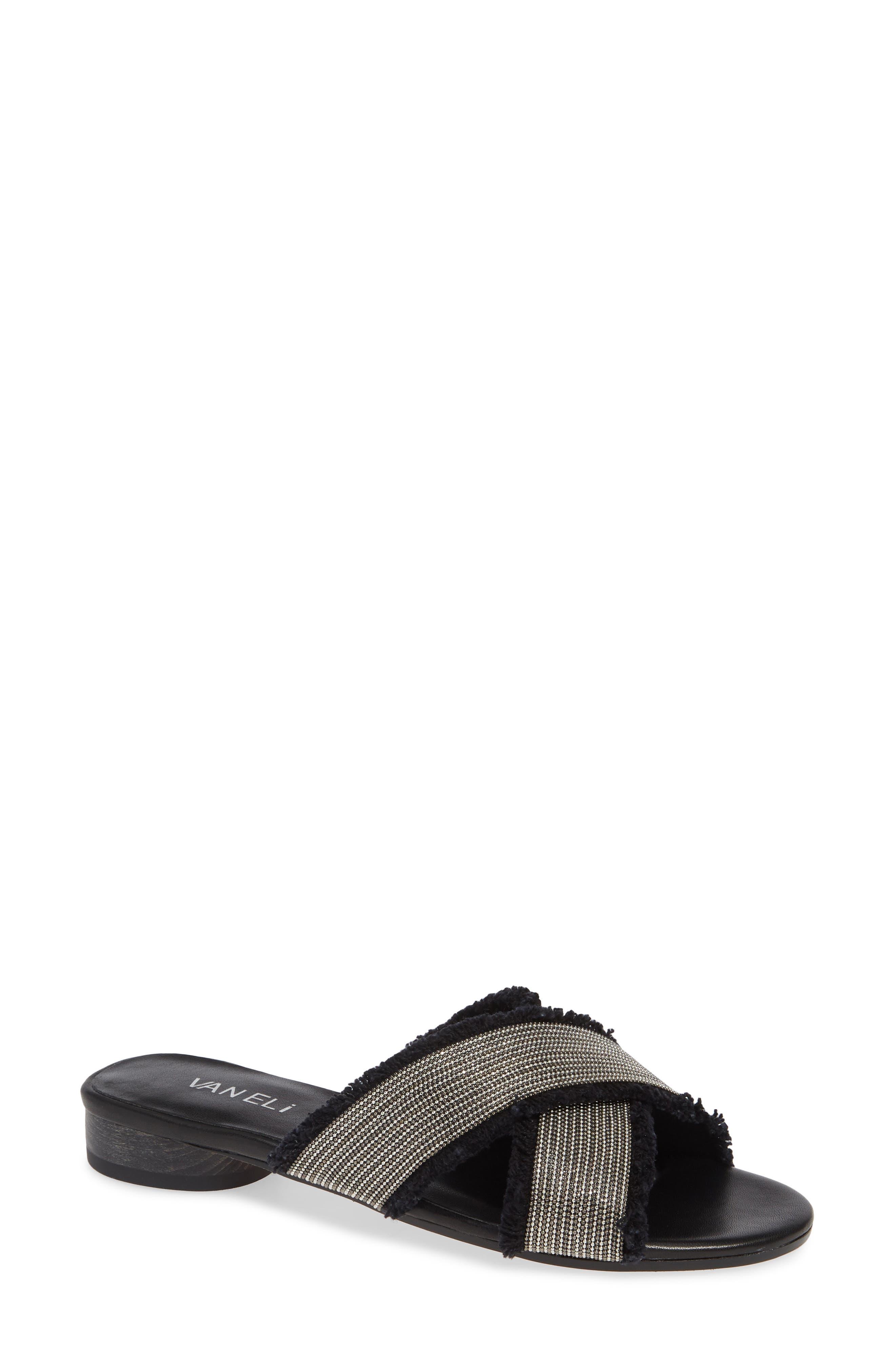 Baret Slide Sandal,                             Main thumbnail 1, color,                             BLACK FABRIC
