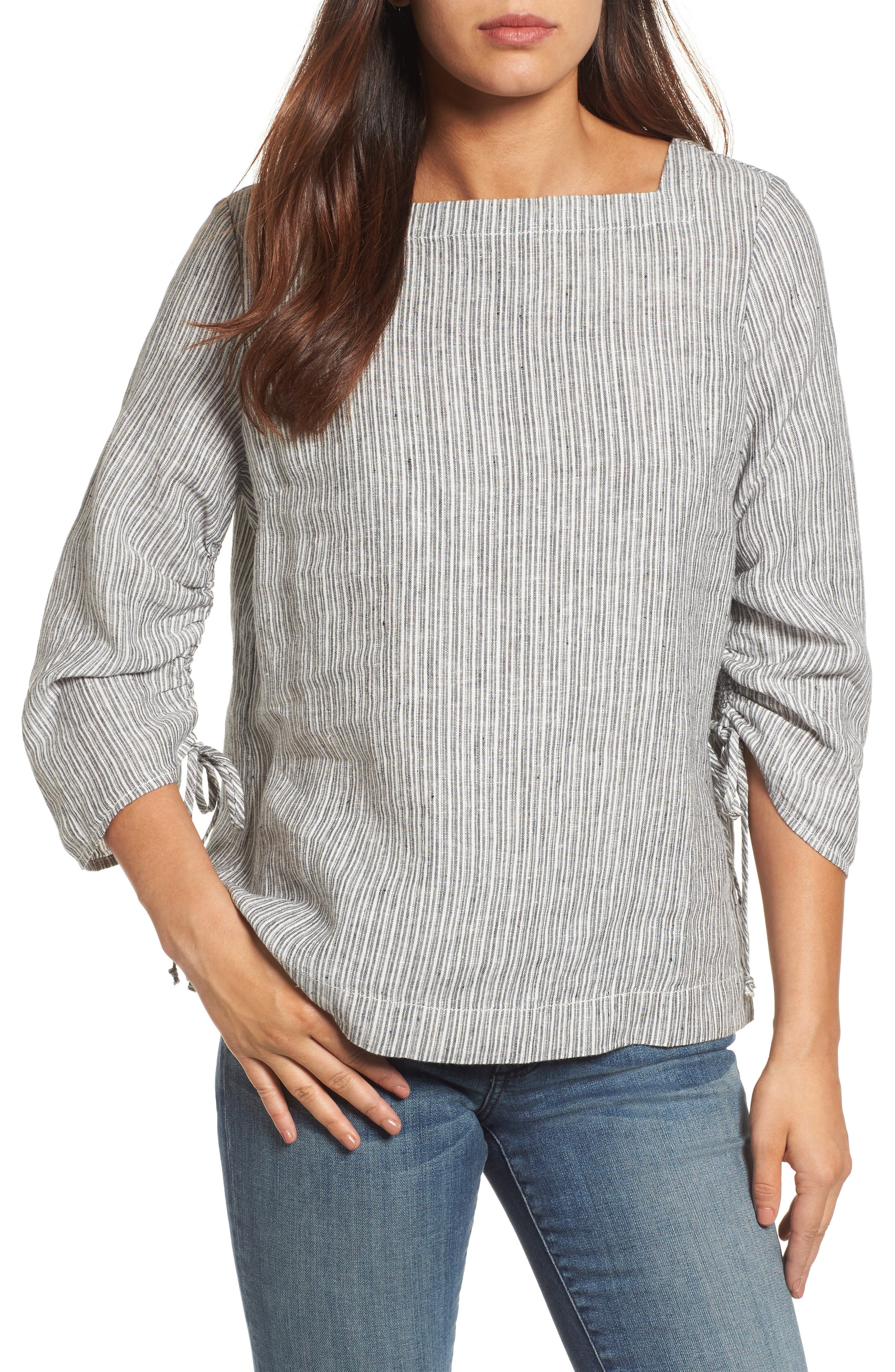 Ruched Sleeve Linen Pullover,                             Main thumbnail 3, color,
