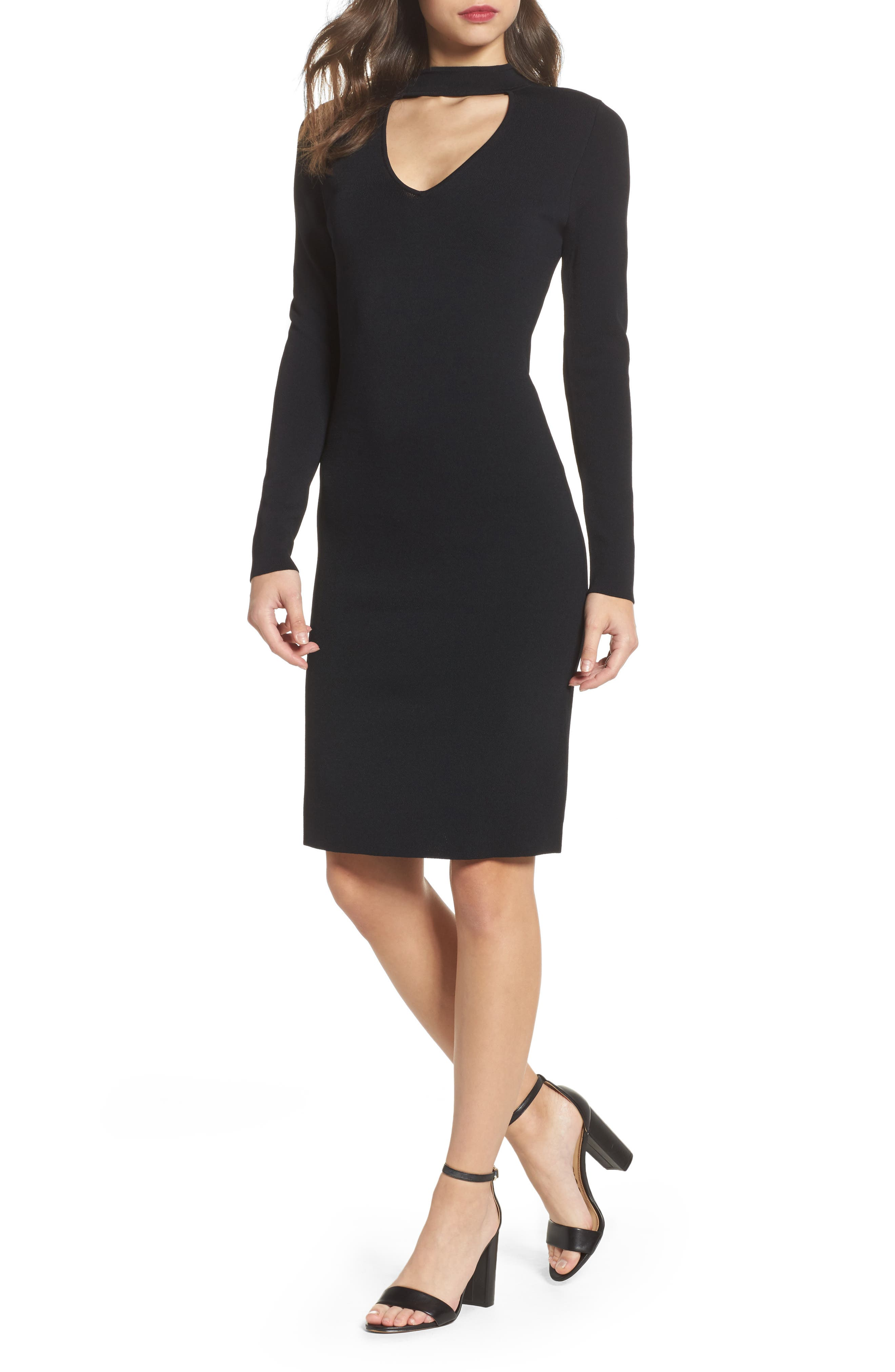 Choker Collar Sheath Dress,                             Main thumbnail 1, color,                             001