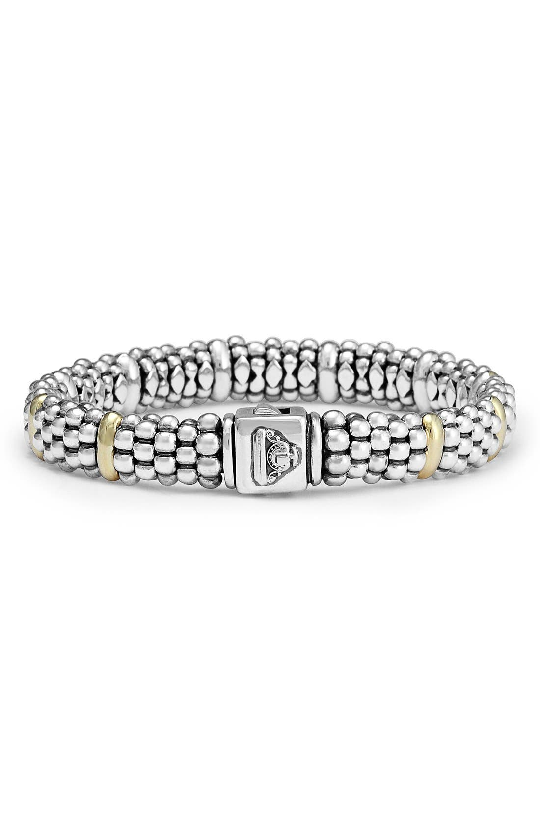 Oval Rope Caviar Bracelet,                             Alternate thumbnail 6, color,                             SILVER/ GOLD