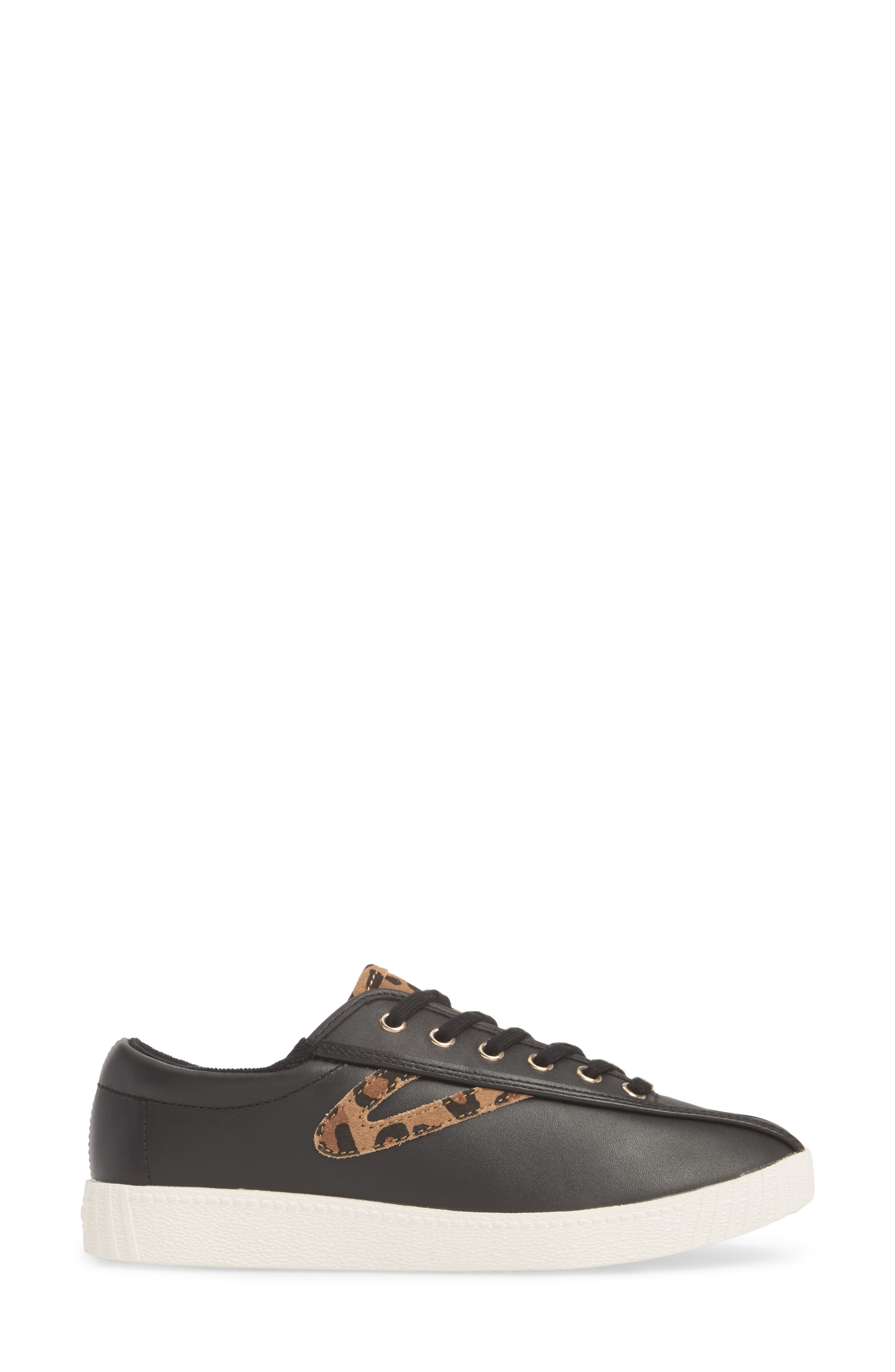 Patterned Sneaker,                             Alternate thumbnail 3, color,                             BLACK/ TAN/ BLACK LEATHER
