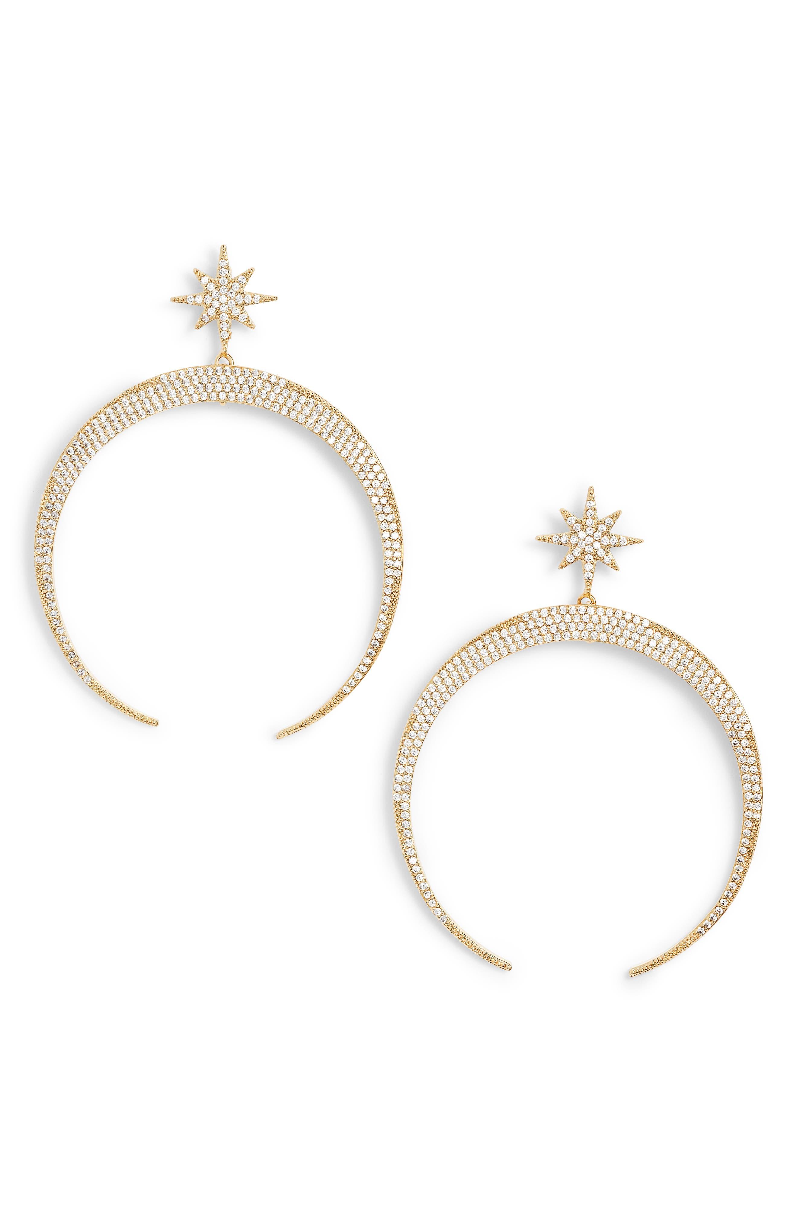 Pavé Moon Earrings,                             Main thumbnail 3, color,
