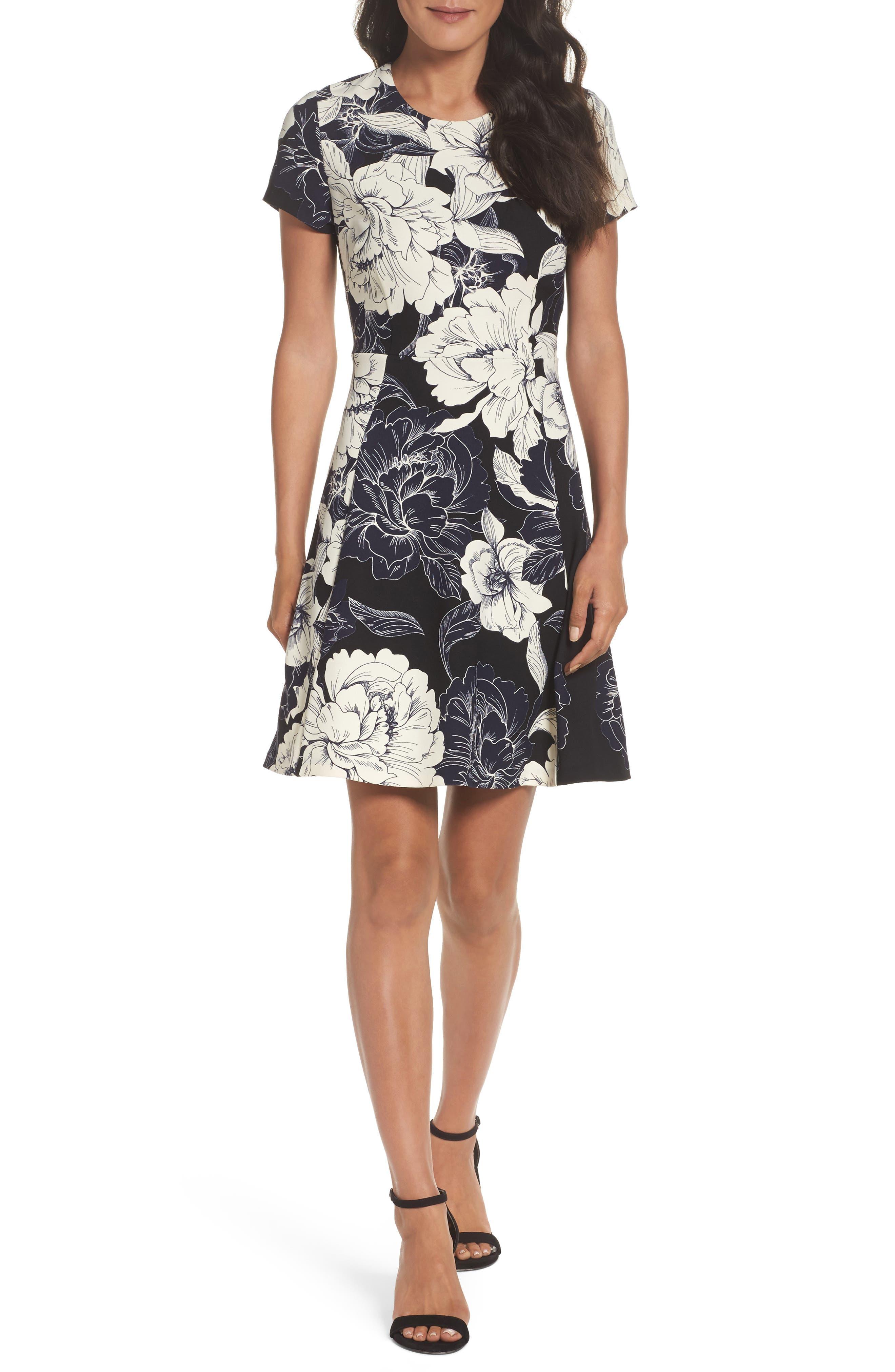 Eliza J Floral Print Fit & Flare Dress, Black