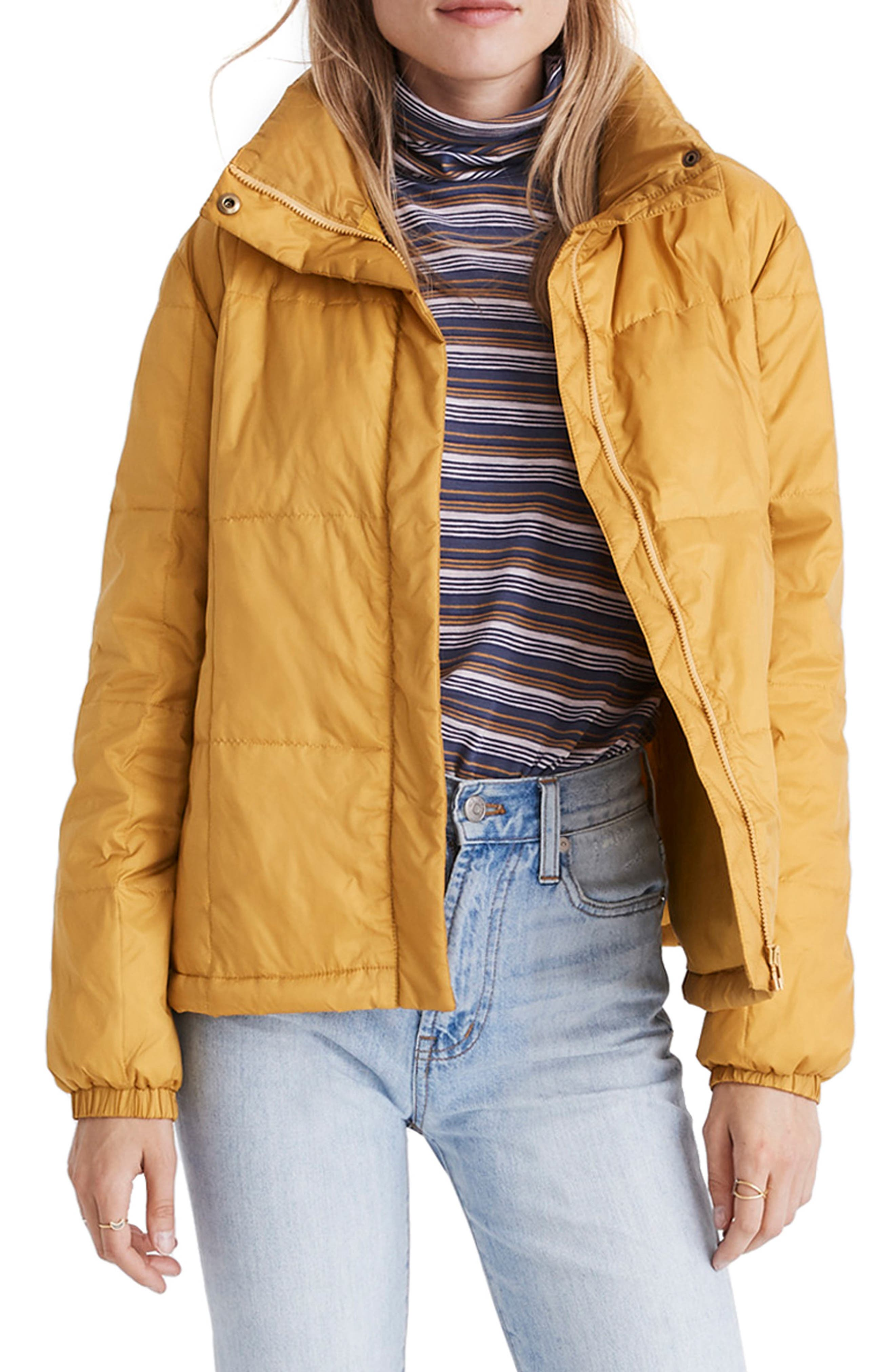 Madewell Travel Buddy Packable Puffer Jacket, Yellow