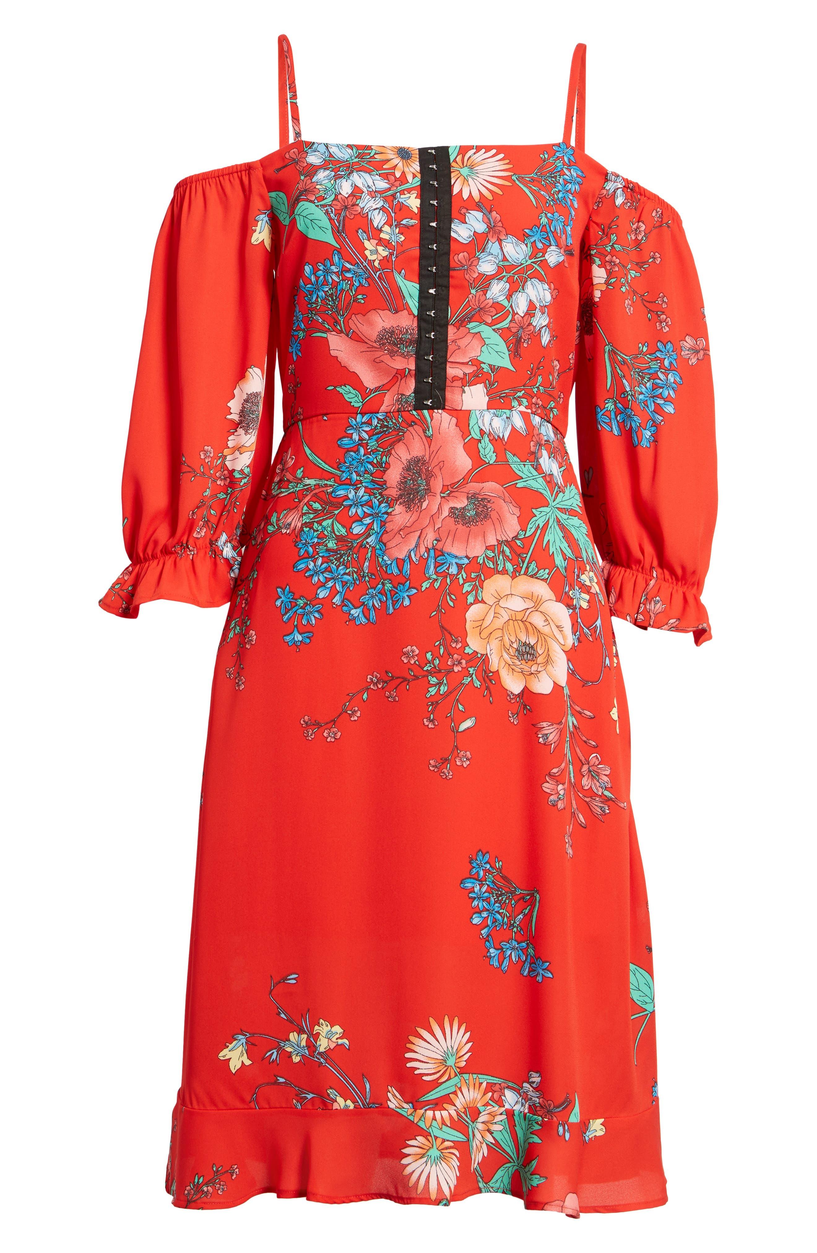 Cold Shoulder Midi Dress,                             Alternate thumbnail 6, color,                             610