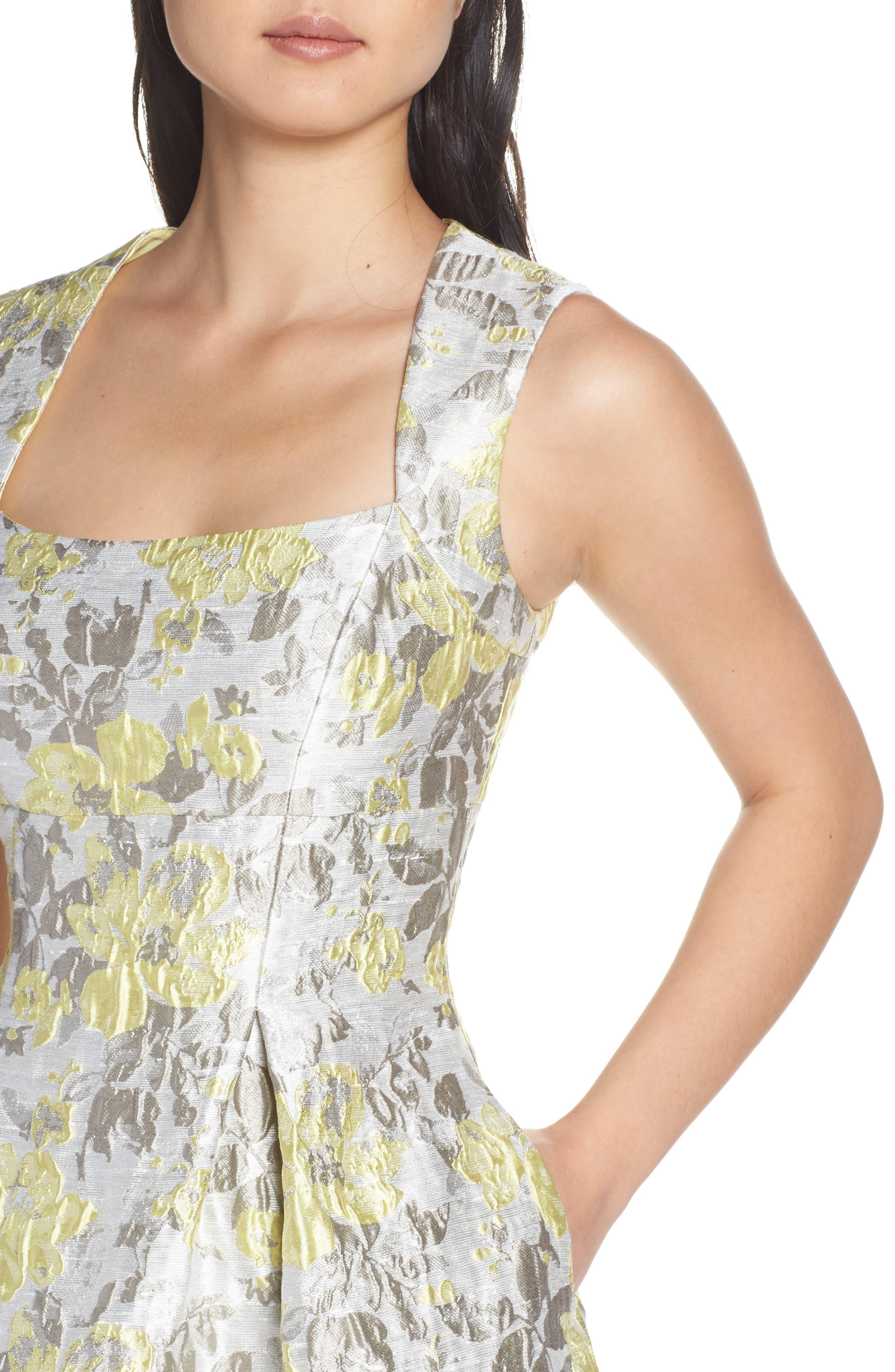 ELIZA J,                             Floral Jacquard Fit & Flare Dress,                             Alternate thumbnail 4, color,                             SILVER COMBO