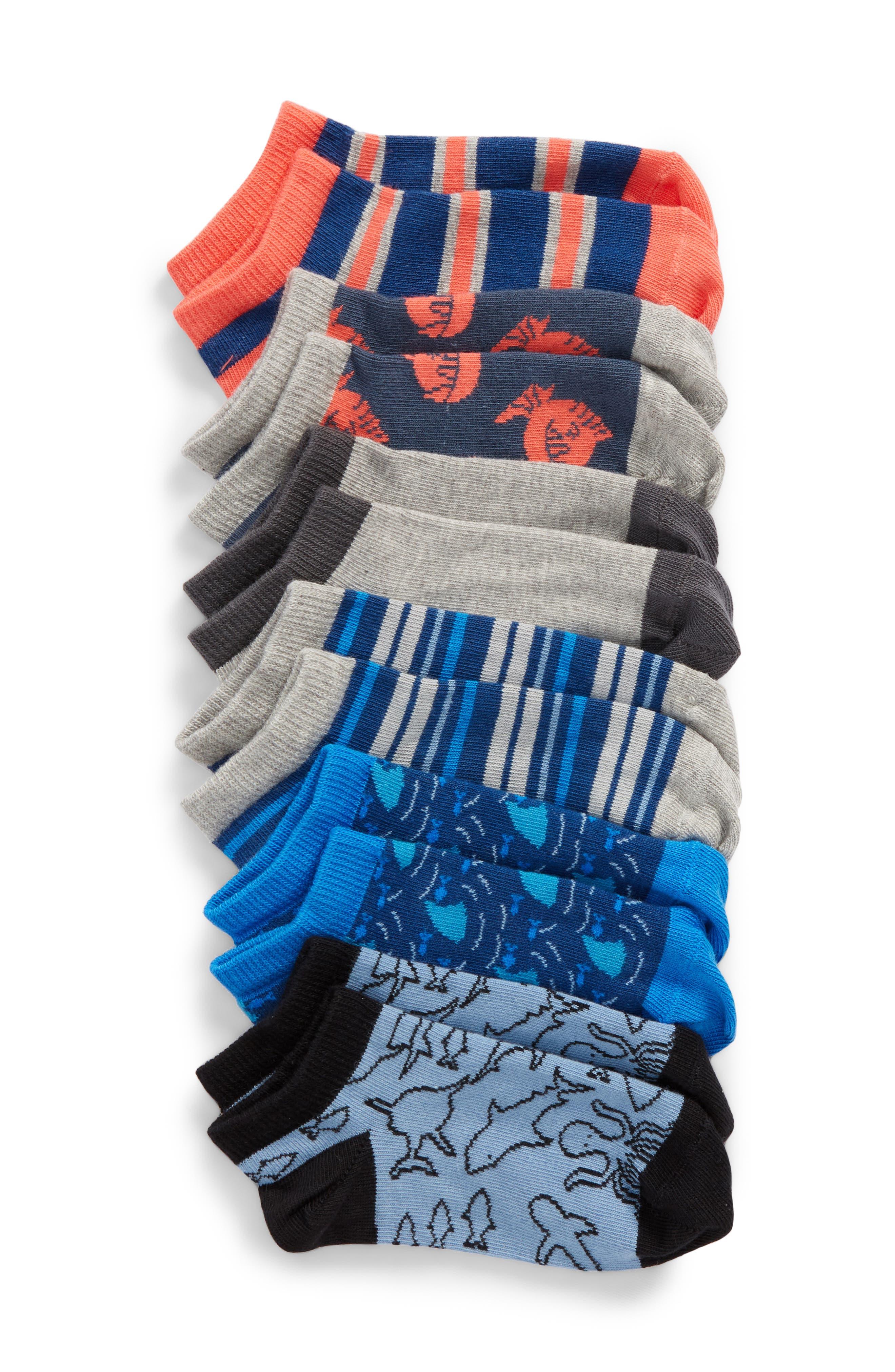 6-Pack Puffer Fish Low Cut Socks,                         Main,                         color, BLUE CLOUD MULTI
