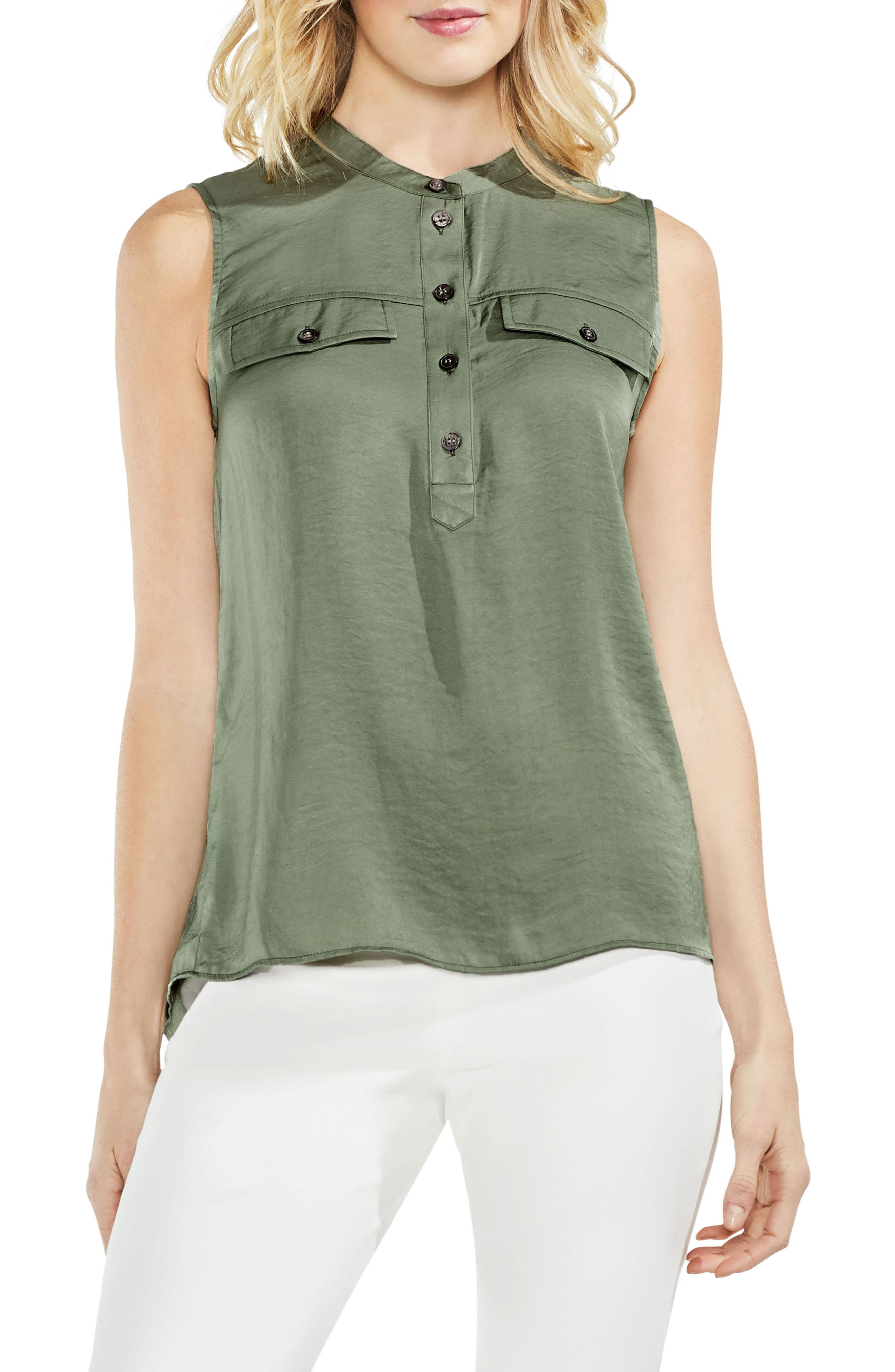 Sleeveless Henley Blouse,                             Main thumbnail 2, color,