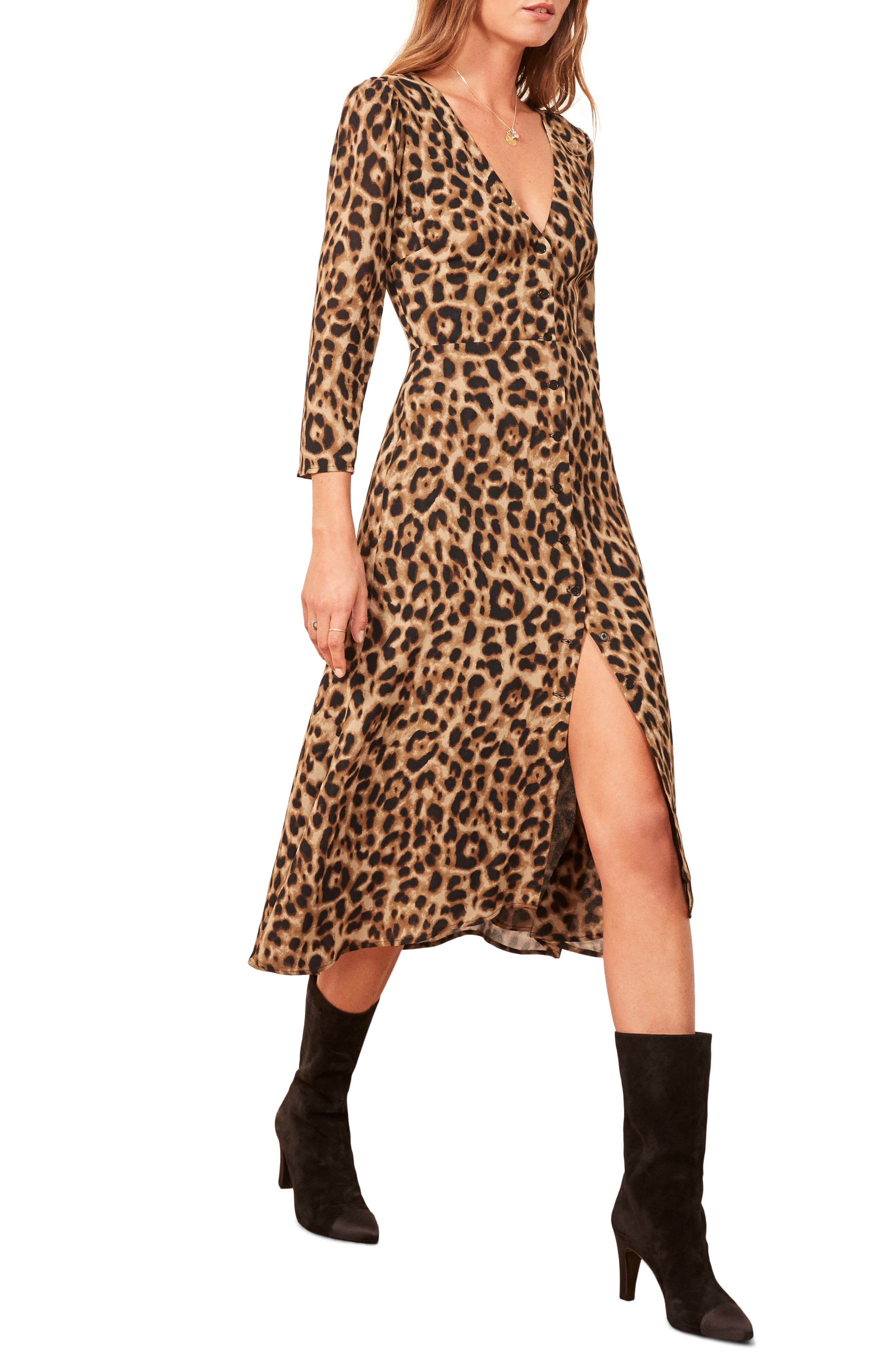 Alma Midi Dress,                             Main thumbnail 1, color,                             LEOPARD