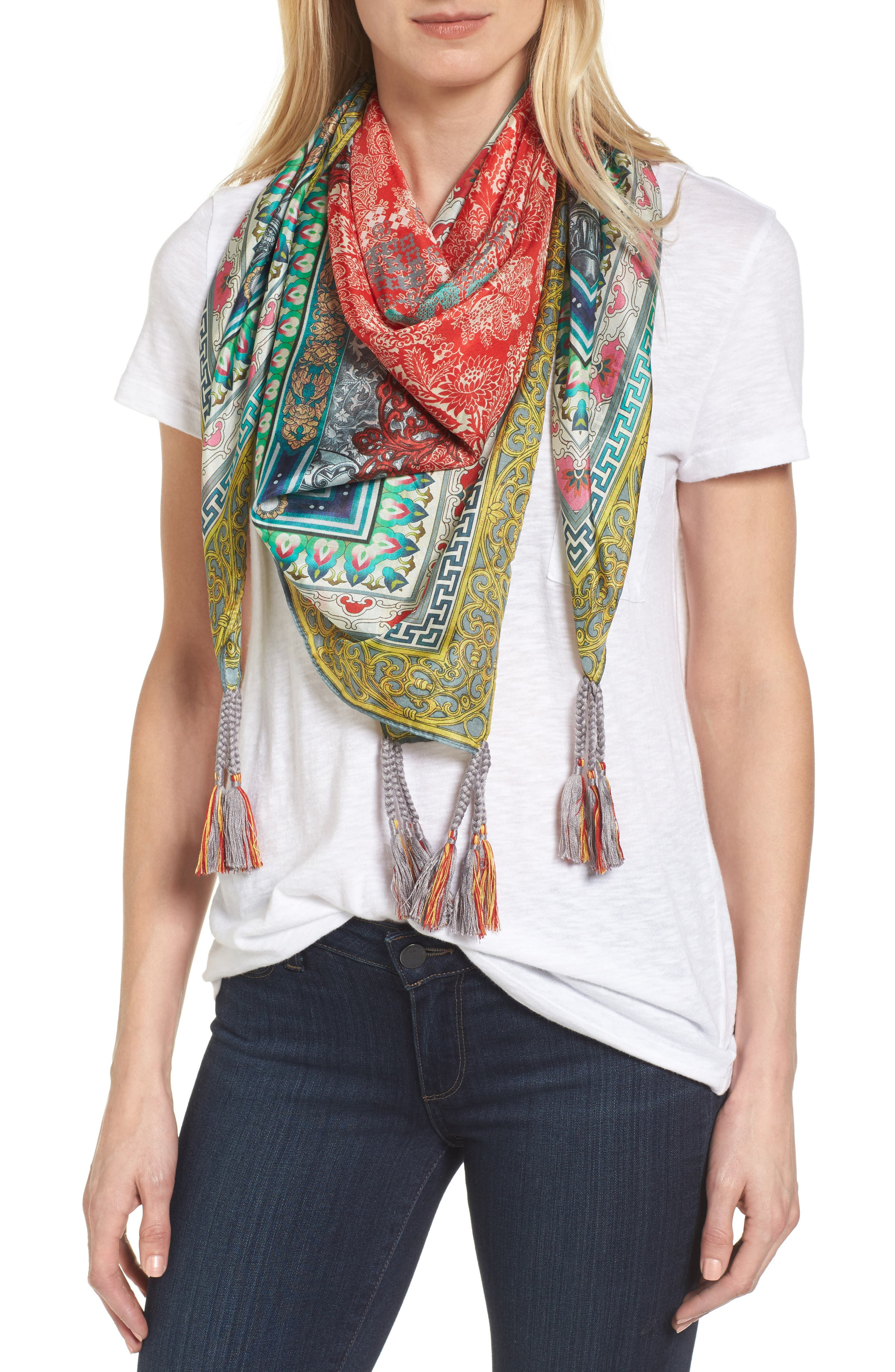 Annabelle Silk Square Scarf,                         Main,                         color, 600