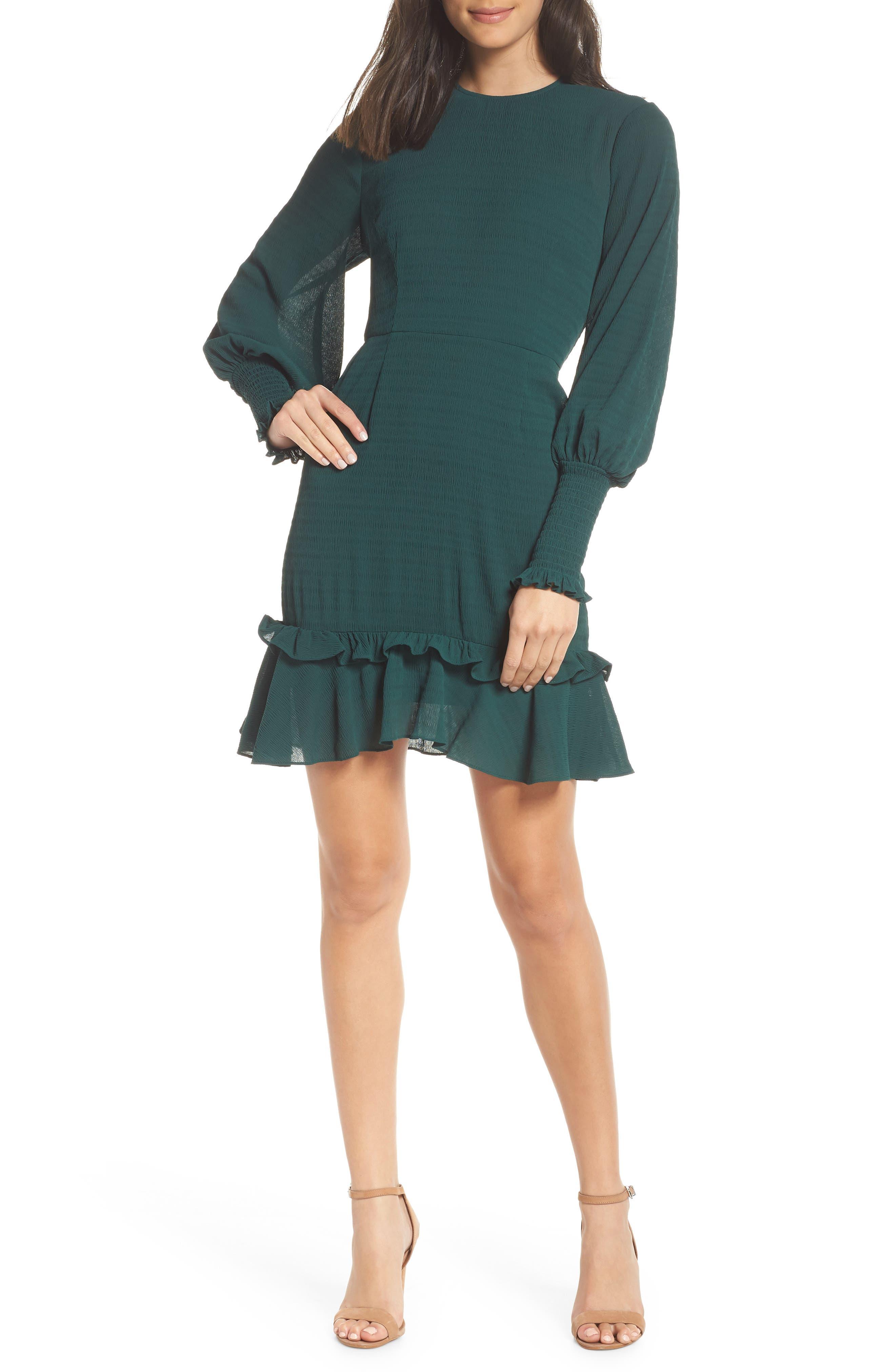 Chelsea28 Ruffle A-Line Dress, (similar to 1-1) - Green