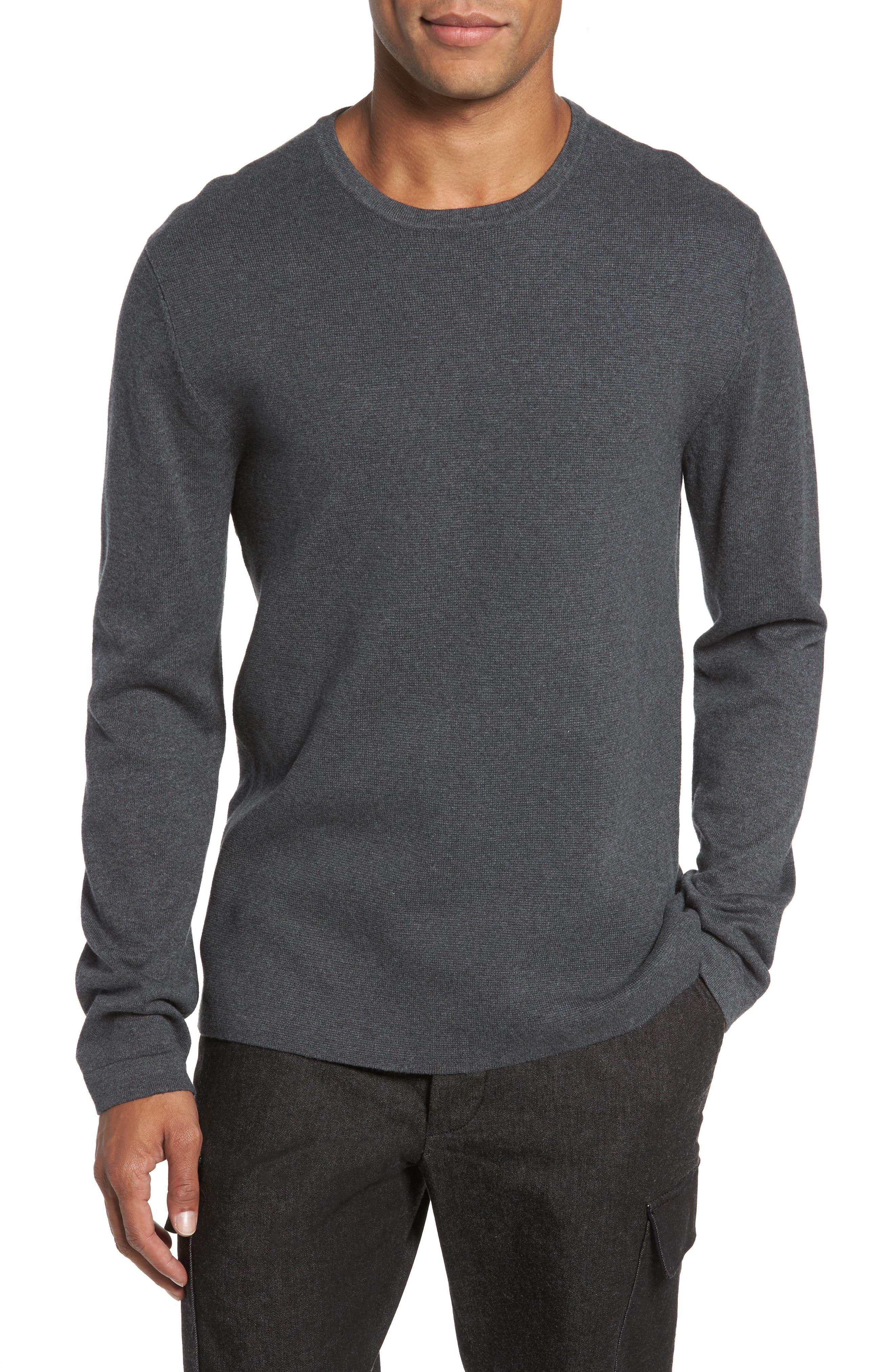 Milano Front Regular Fit Cotton Sweater,                         Main,                         color, CHARCOAL MELANGE