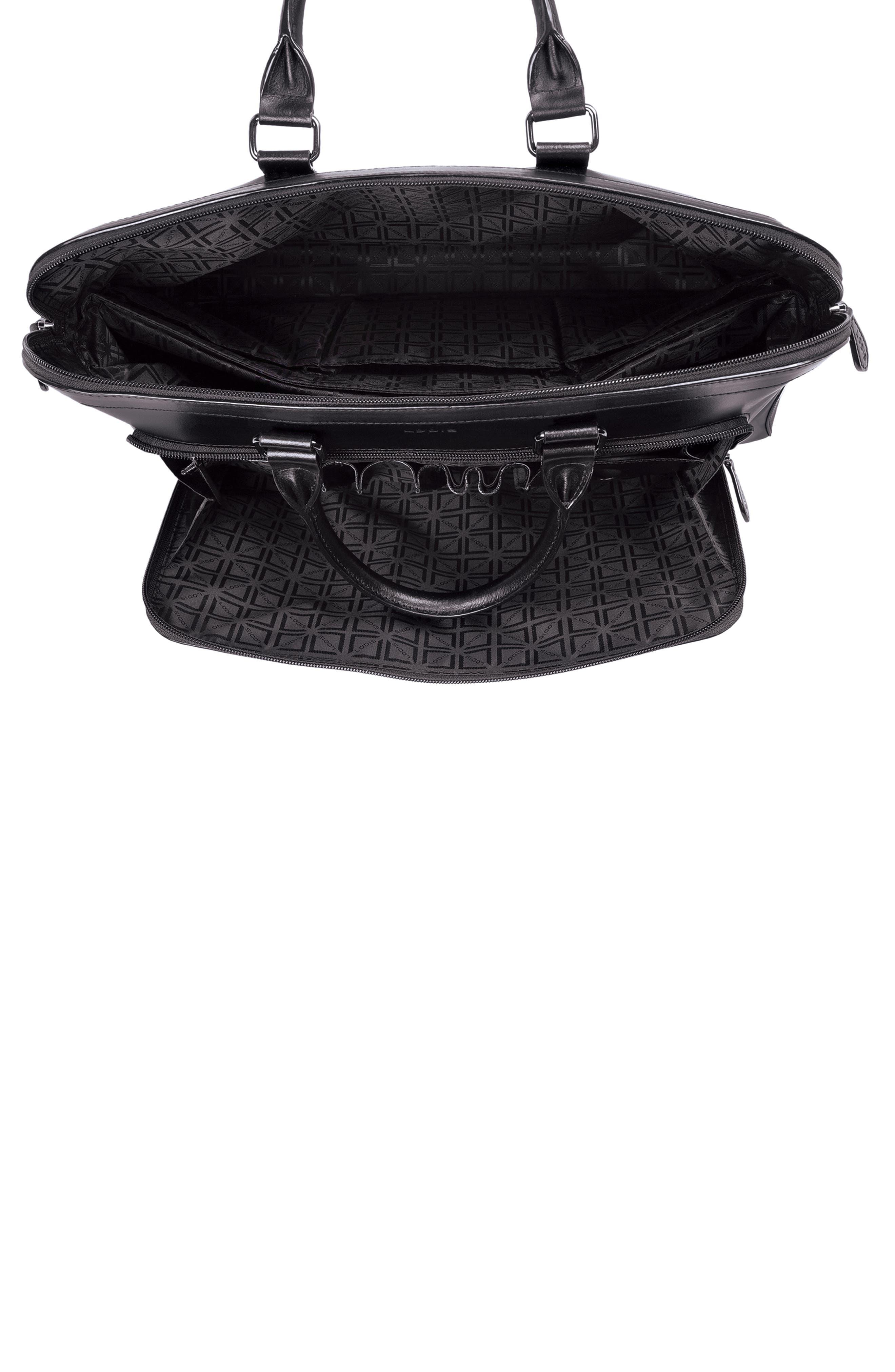 Audrey Under Lock & Key - Brera RFID Leather Briefcase,                             Alternate thumbnail 3, color,                             BLACK/ BLACK