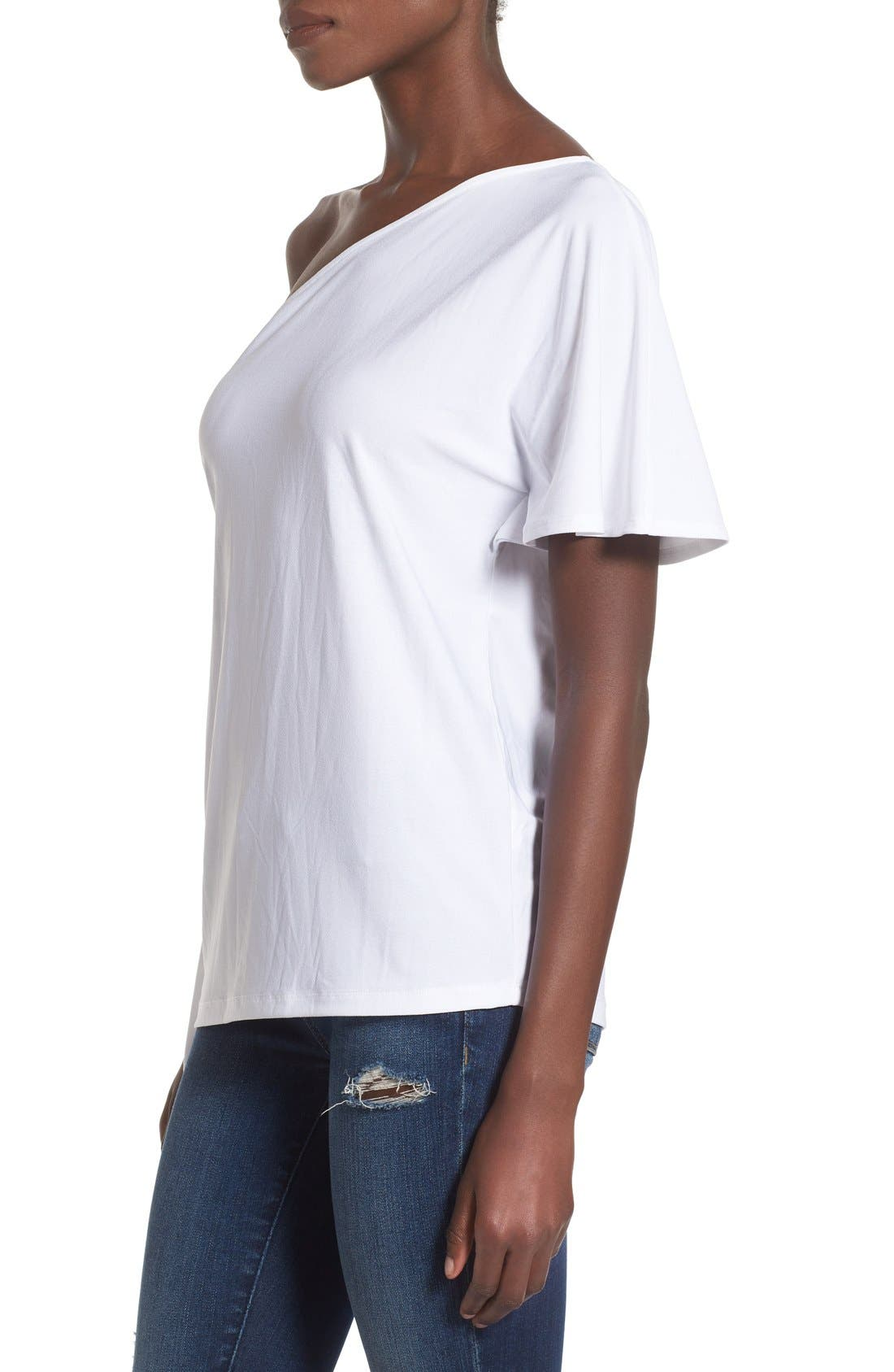 LEITH,                             One Shoulder Tee,                             Alternate thumbnail 4, color,                             100