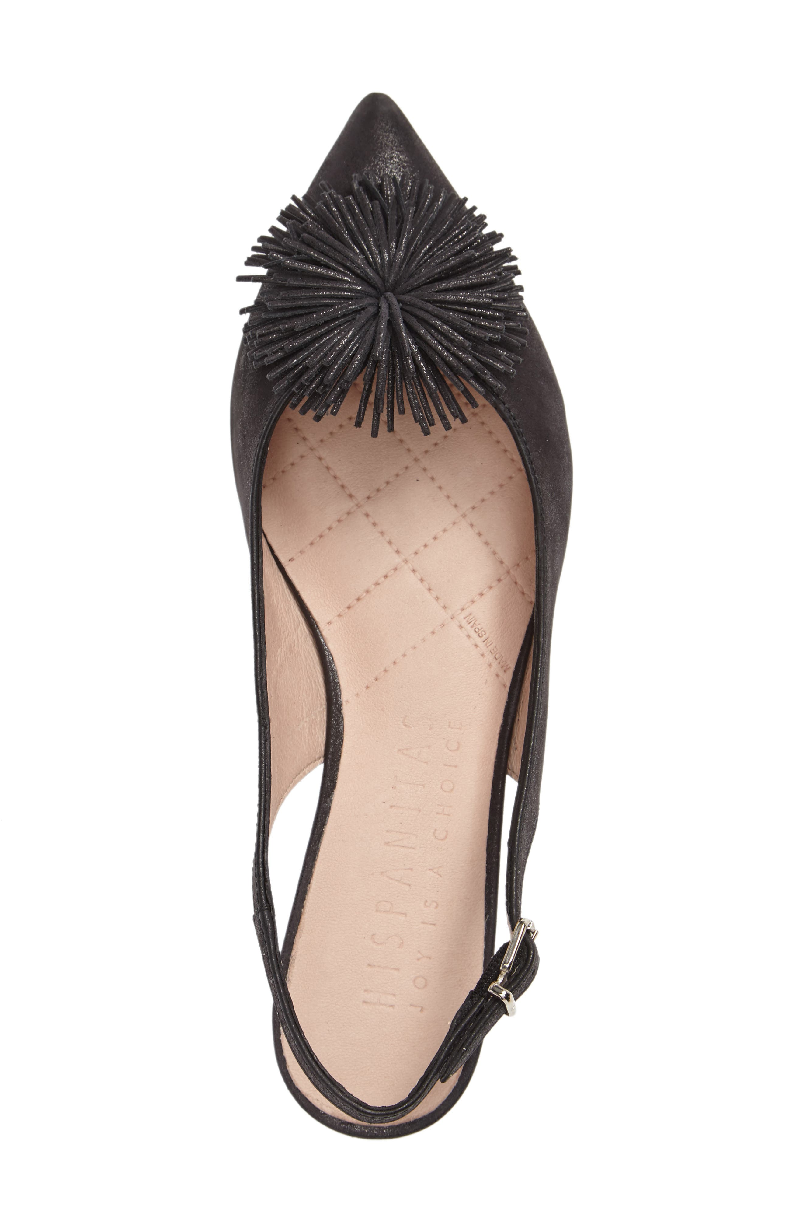 'Faylynn' Fringe Flower Slingback,                             Alternate thumbnail 3, color,                             MAGIC BLACK LEATHER