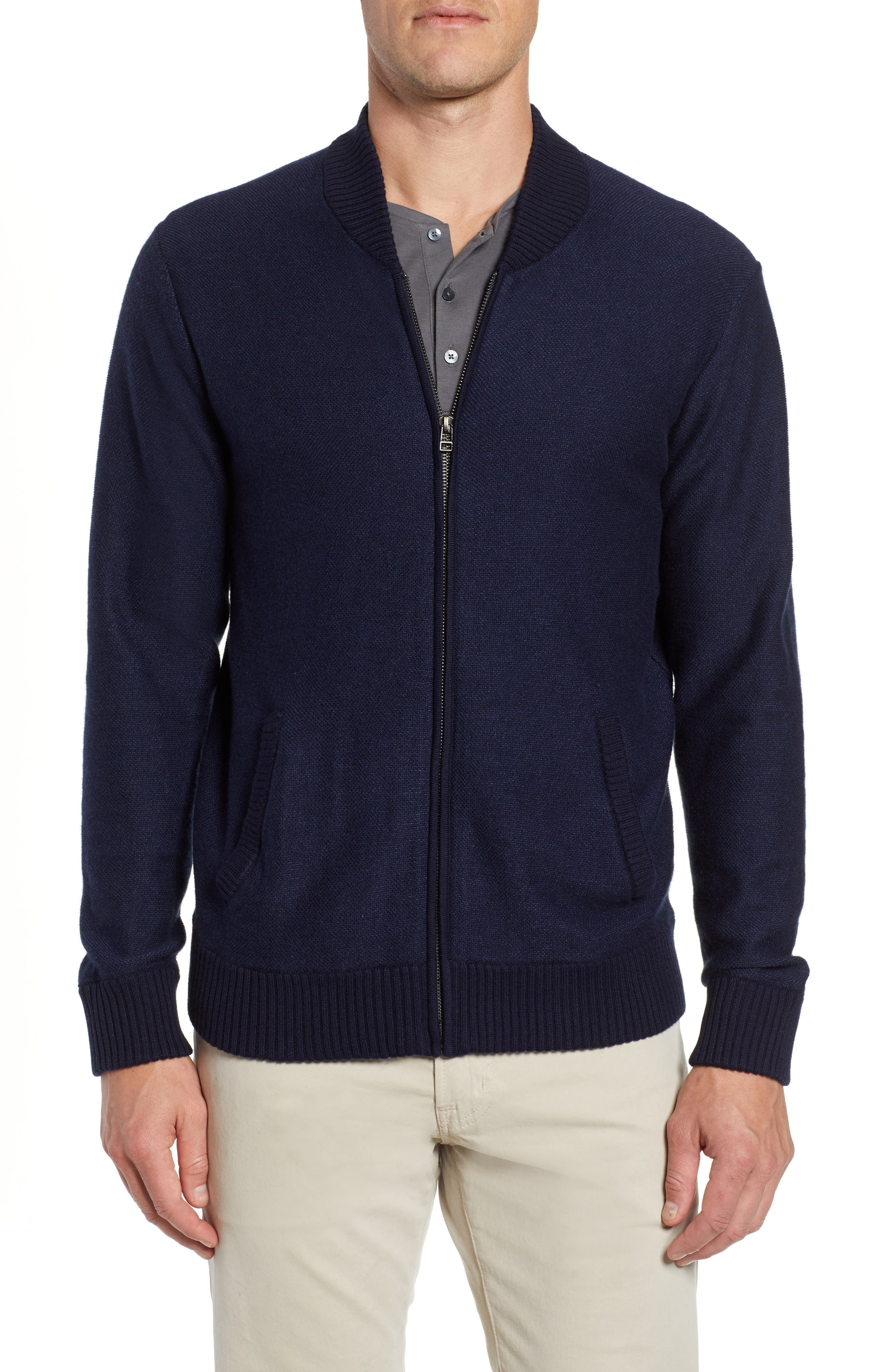 Cotton & Cashmere Bomber Sweater,                             Main thumbnail 1, color,                             MIDNIGHT BLUE