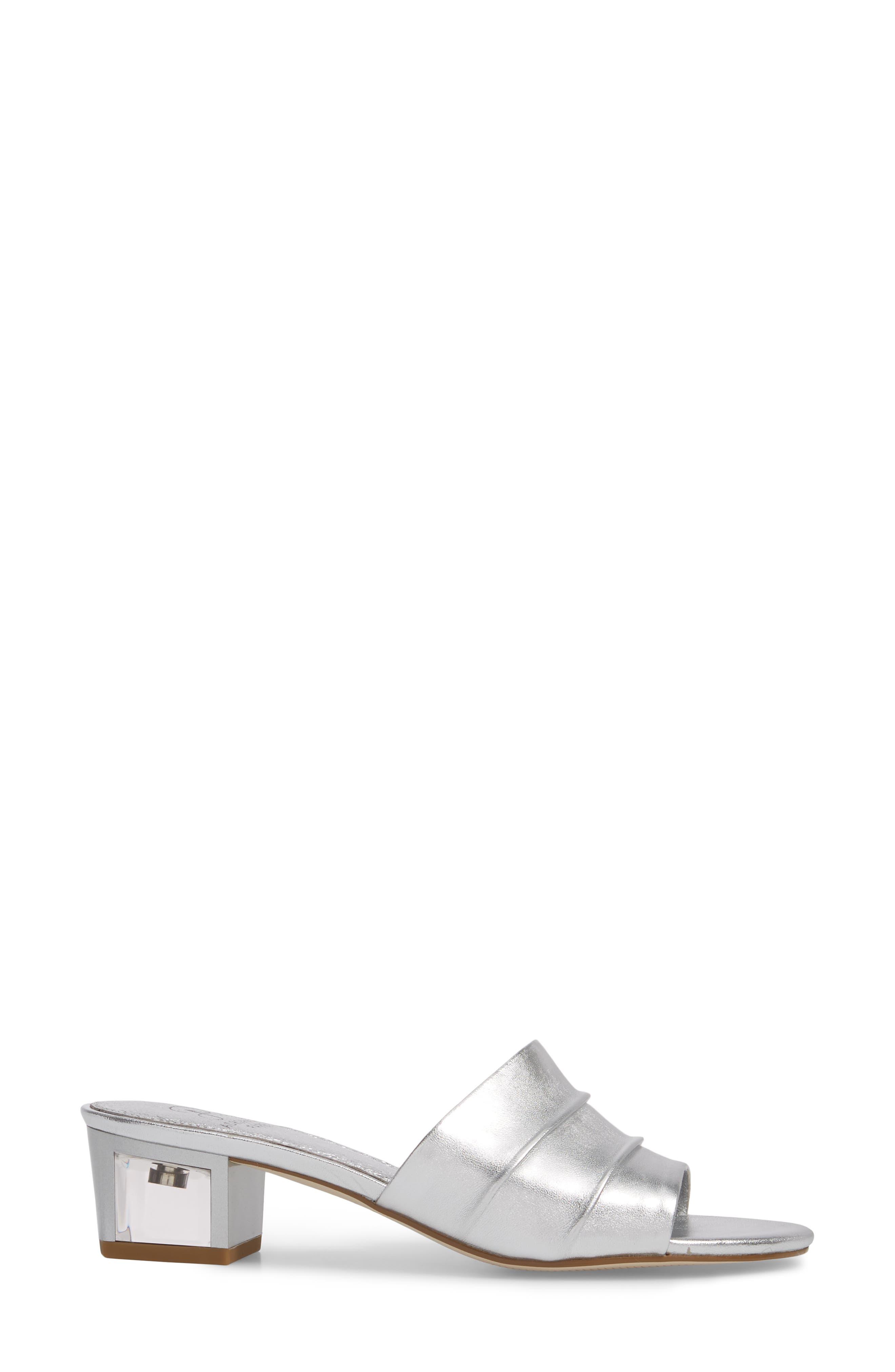 Tiana Block Heel Slide Sandal,                             Alternate thumbnail 3, color,                             SILVER LEATHER