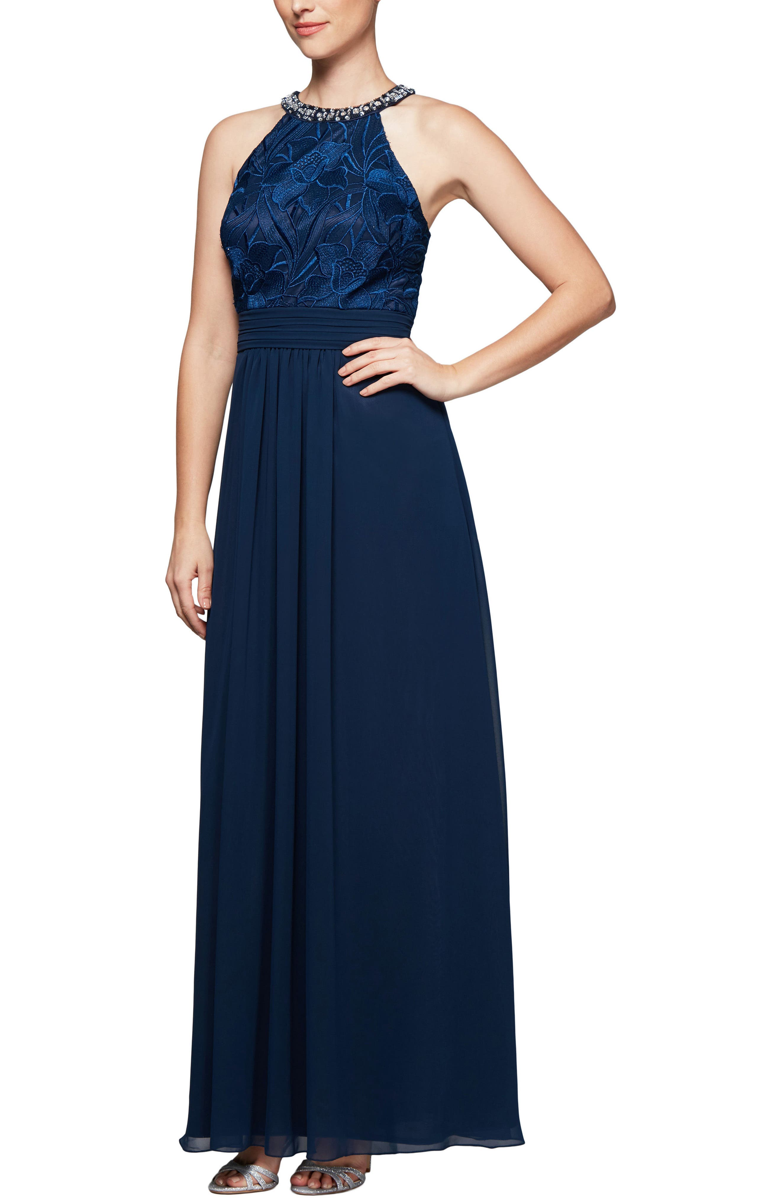 Crystal Embellished Halter Gown,                             Main thumbnail 1, color,                             430