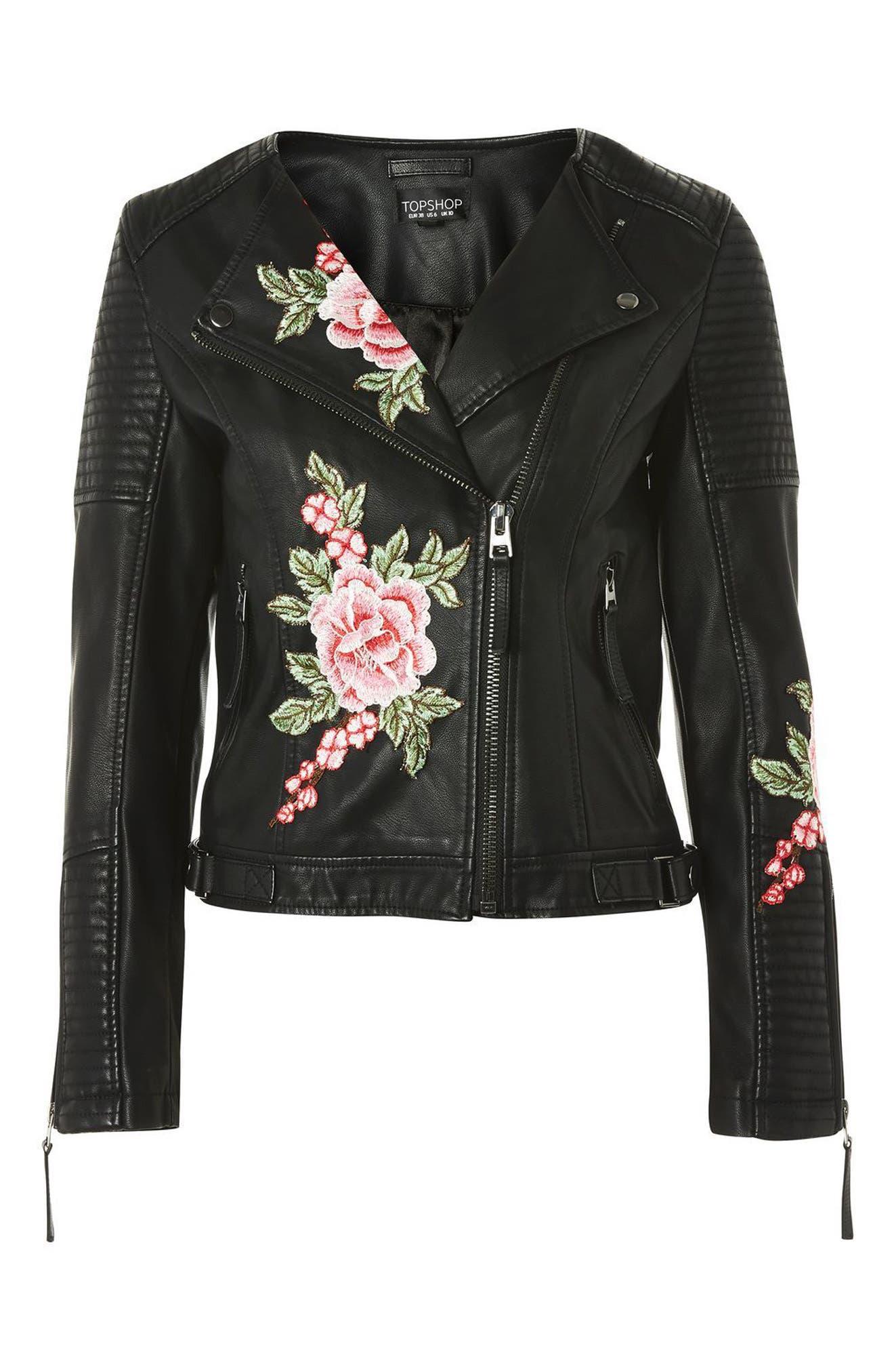 Luna Floral Patch Faux Leather Biker Jacket,                             Alternate thumbnail 4, color,                             001