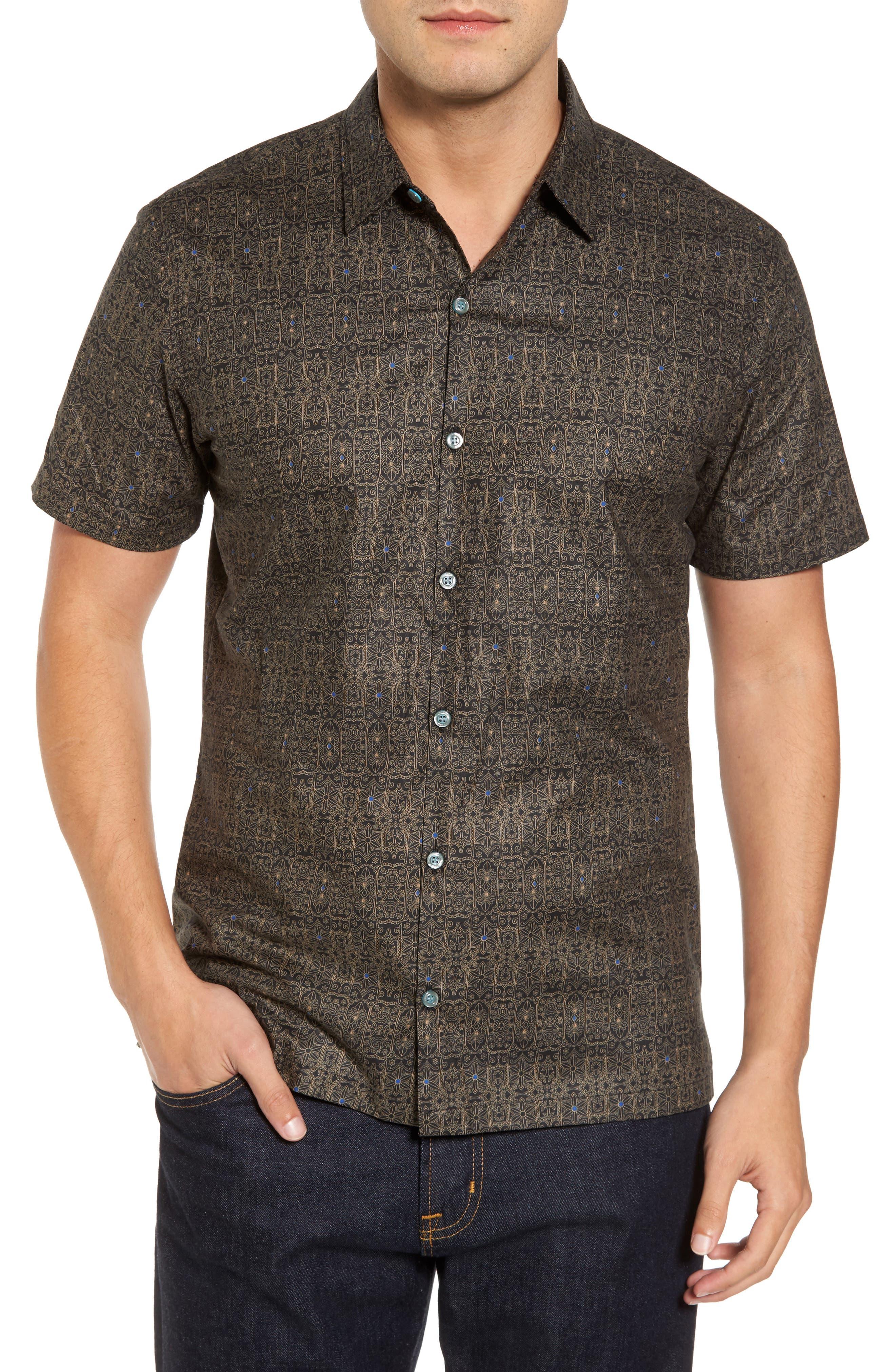 Filigree Slim Fit Camp Shirt,                         Main,                         color, 001