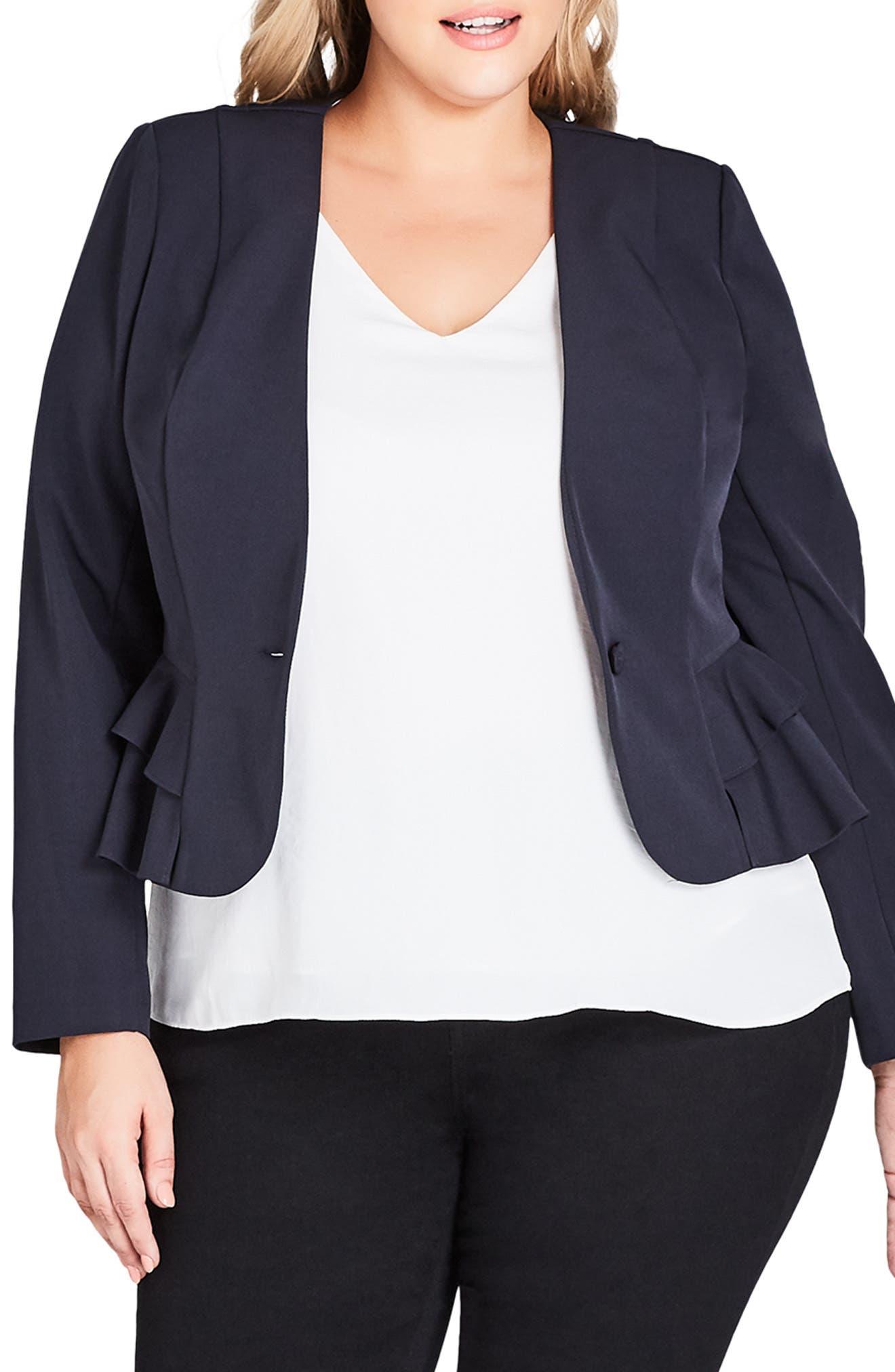 plus size women's city chic petite frill jacket
