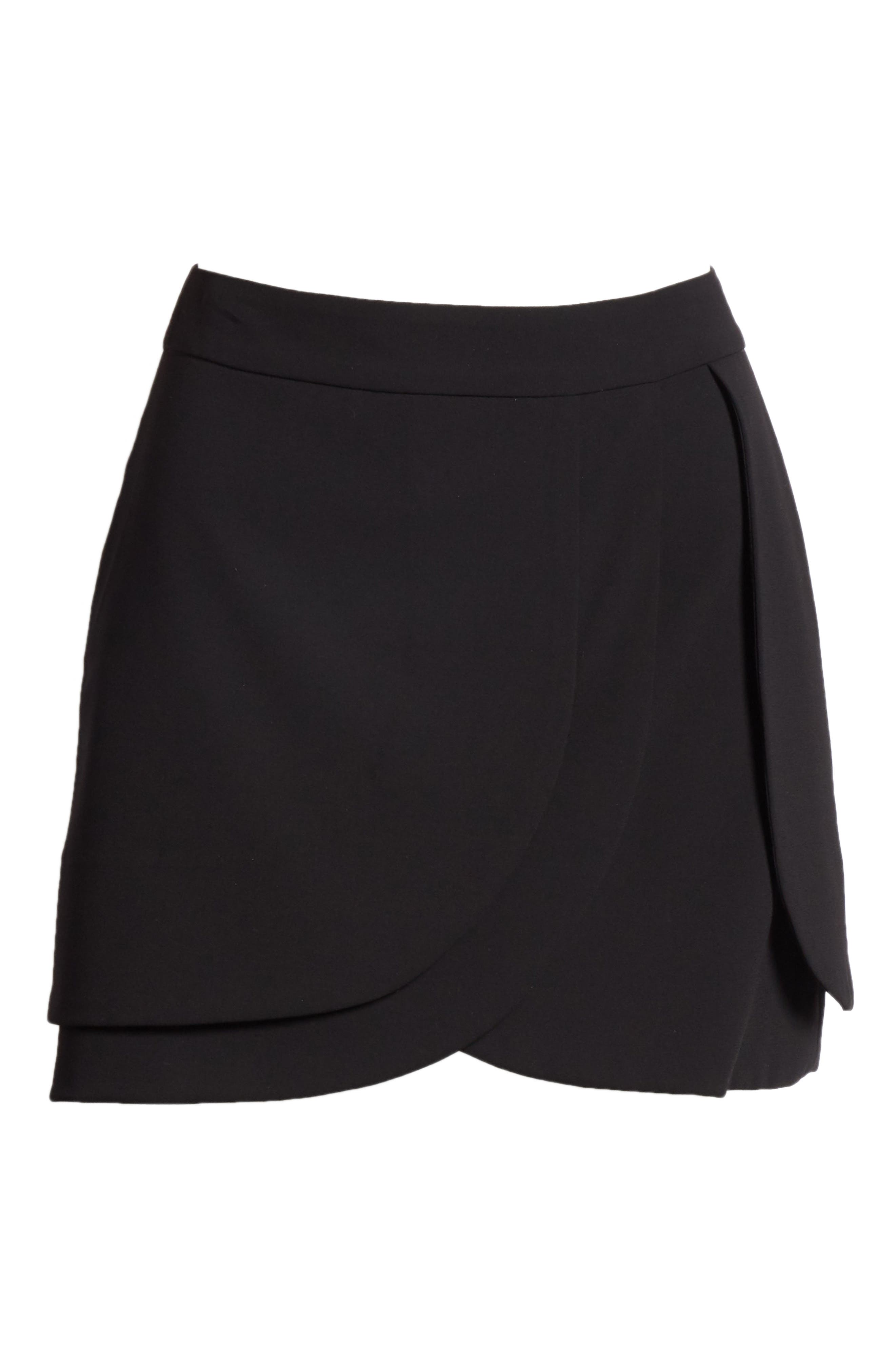 Nicolina Layered Tulip Miniskirt,                             Alternate thumbnail 6, color,                             BLACK