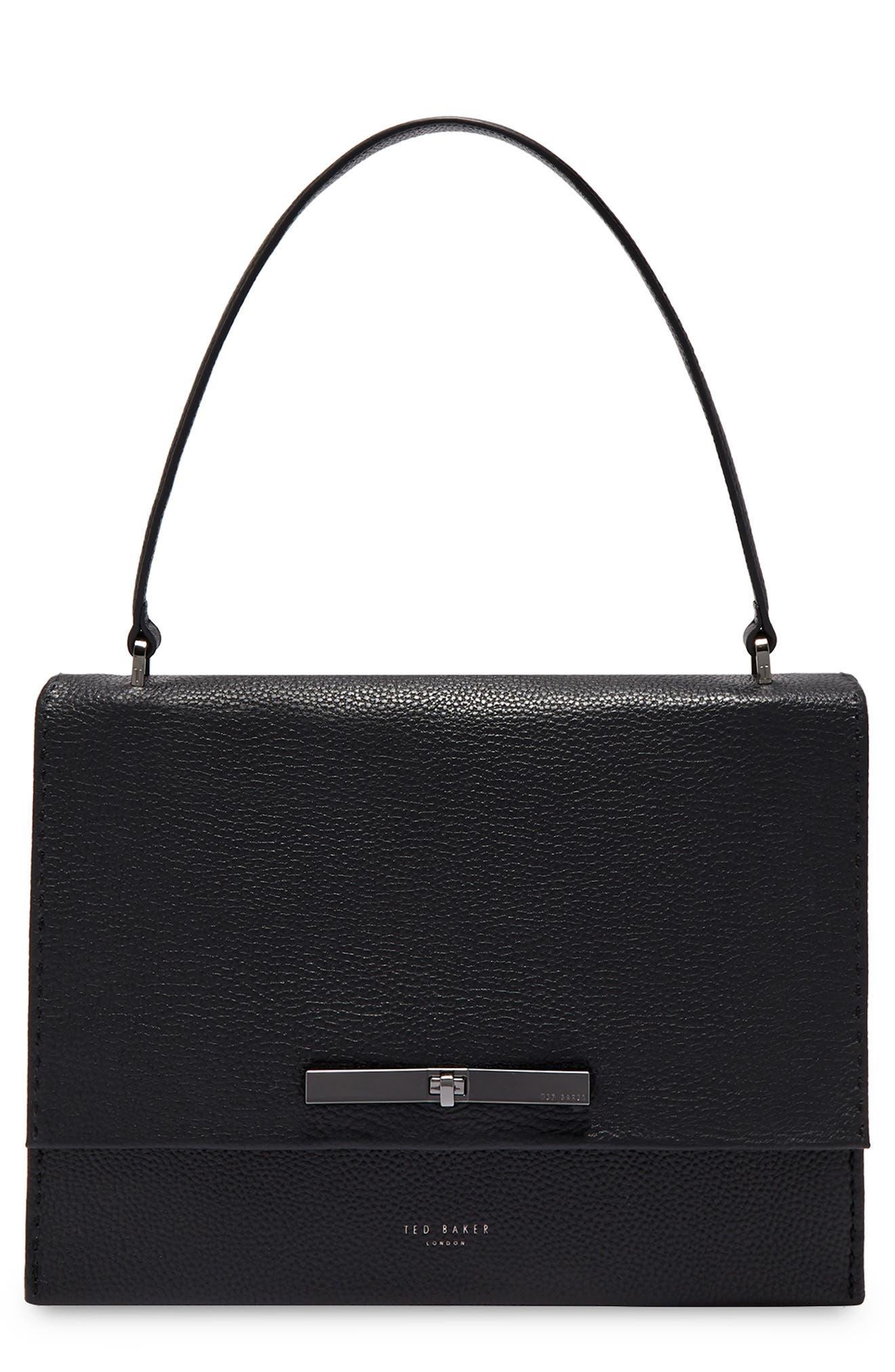 Jessi Leather Shoulder Bag,                         Main,                         color, BLACK