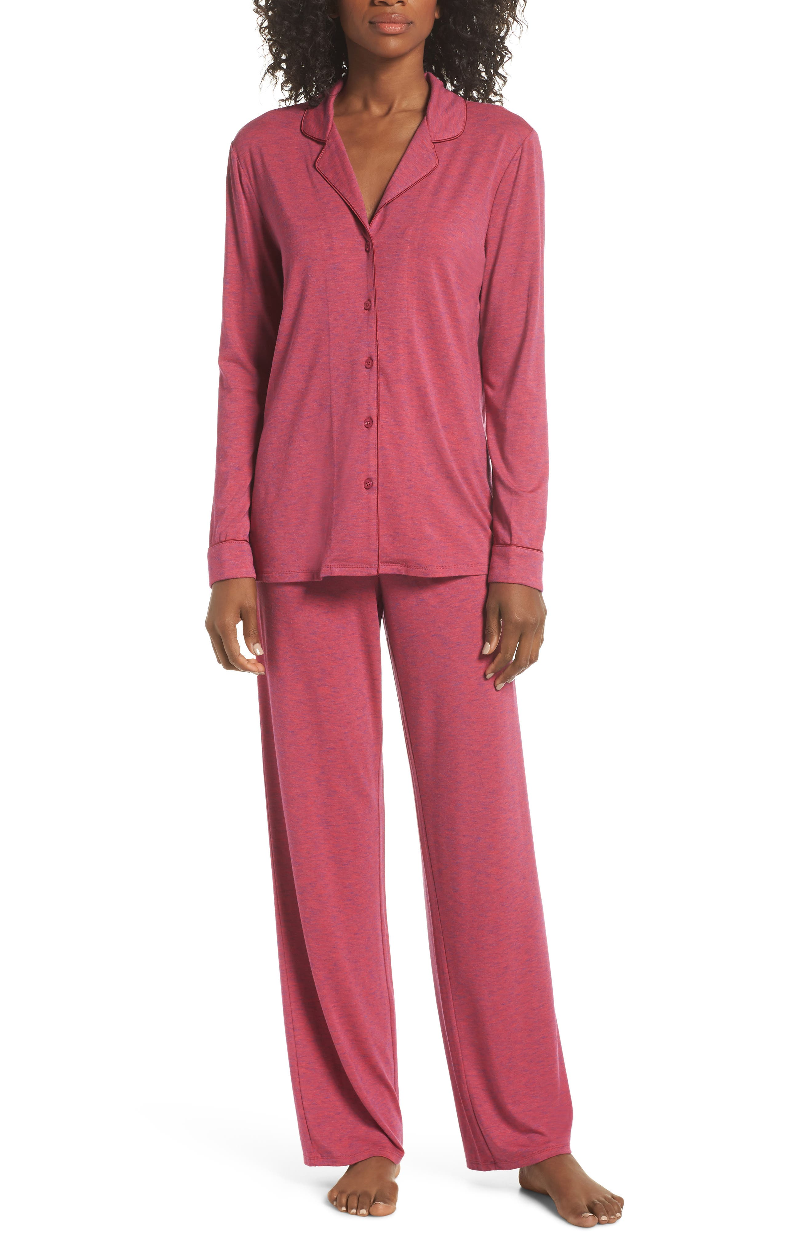 NORDSTROM LINGERIE,                             Moonlight Pajamas,                             Main thumbnail 1, color,                             BURGUNDY SPACEDYE