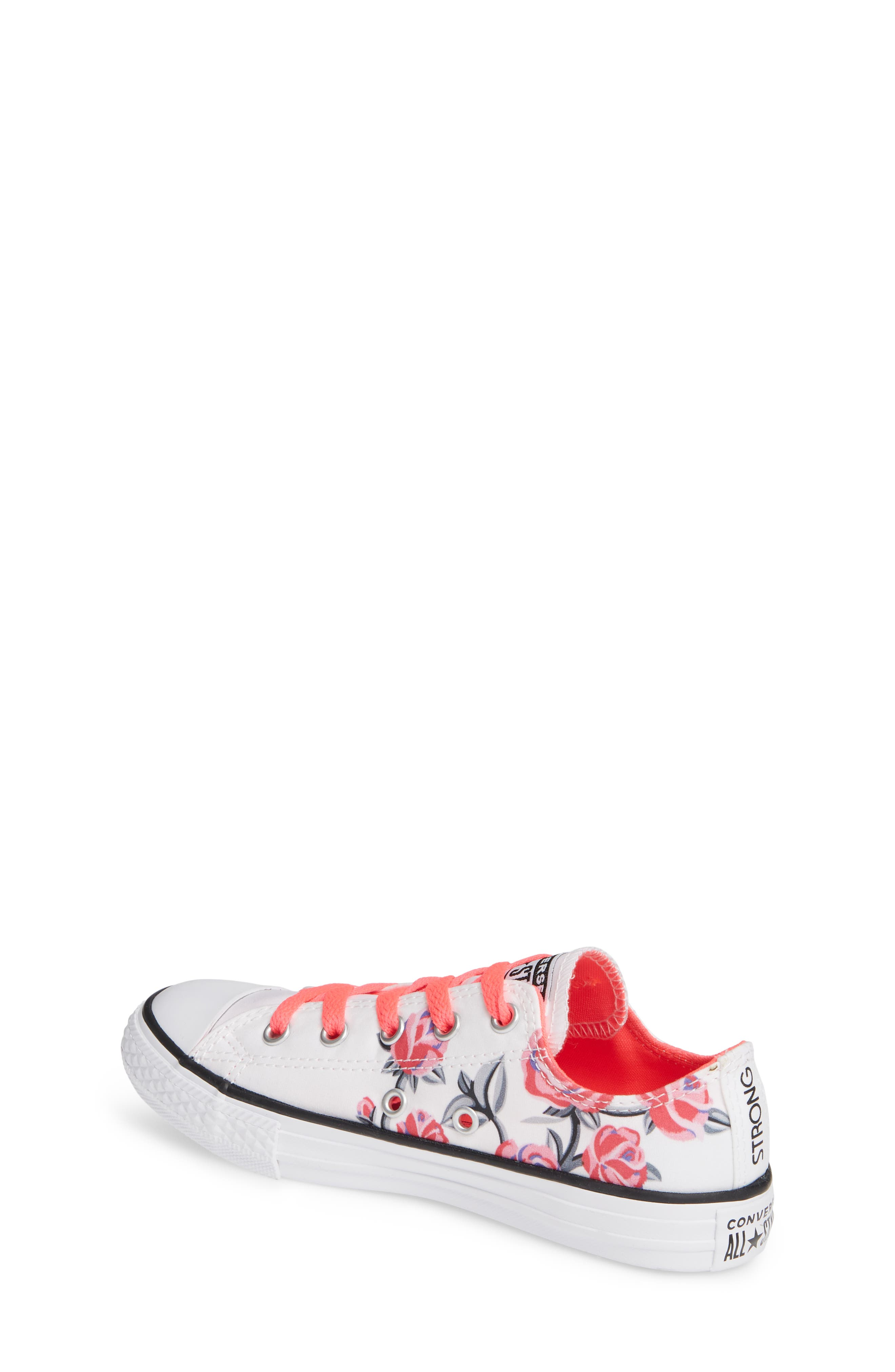 Chuck Taylor<sup>®</sup> All Star<sup>®</sup> Low Top Sneaker,                             Alternate thumbnail 2, color,                             WHITE/ RACER PINK/ BLACK