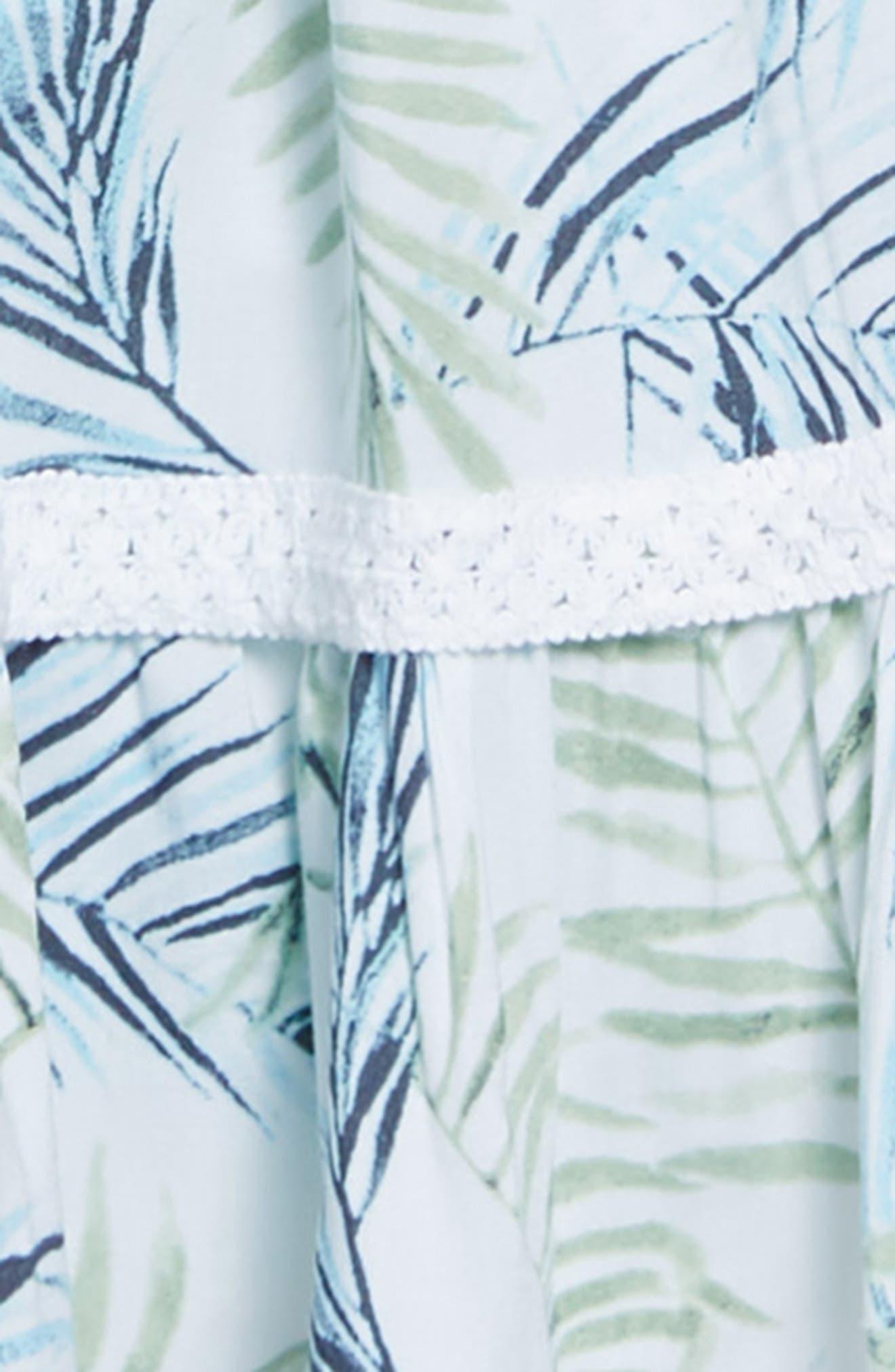 Palm Leaf Print Cold Shoulder Dress,                             Alternate thumbnail 3, color,                             100
